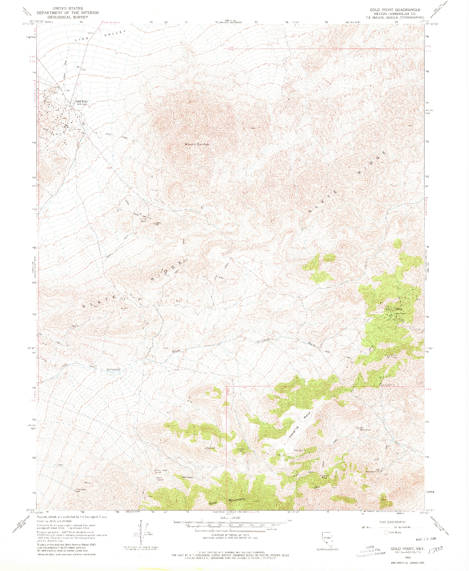 USGS 1:24000-SCALE QUADRANGLE FOR GOLD POINT, NV 1968