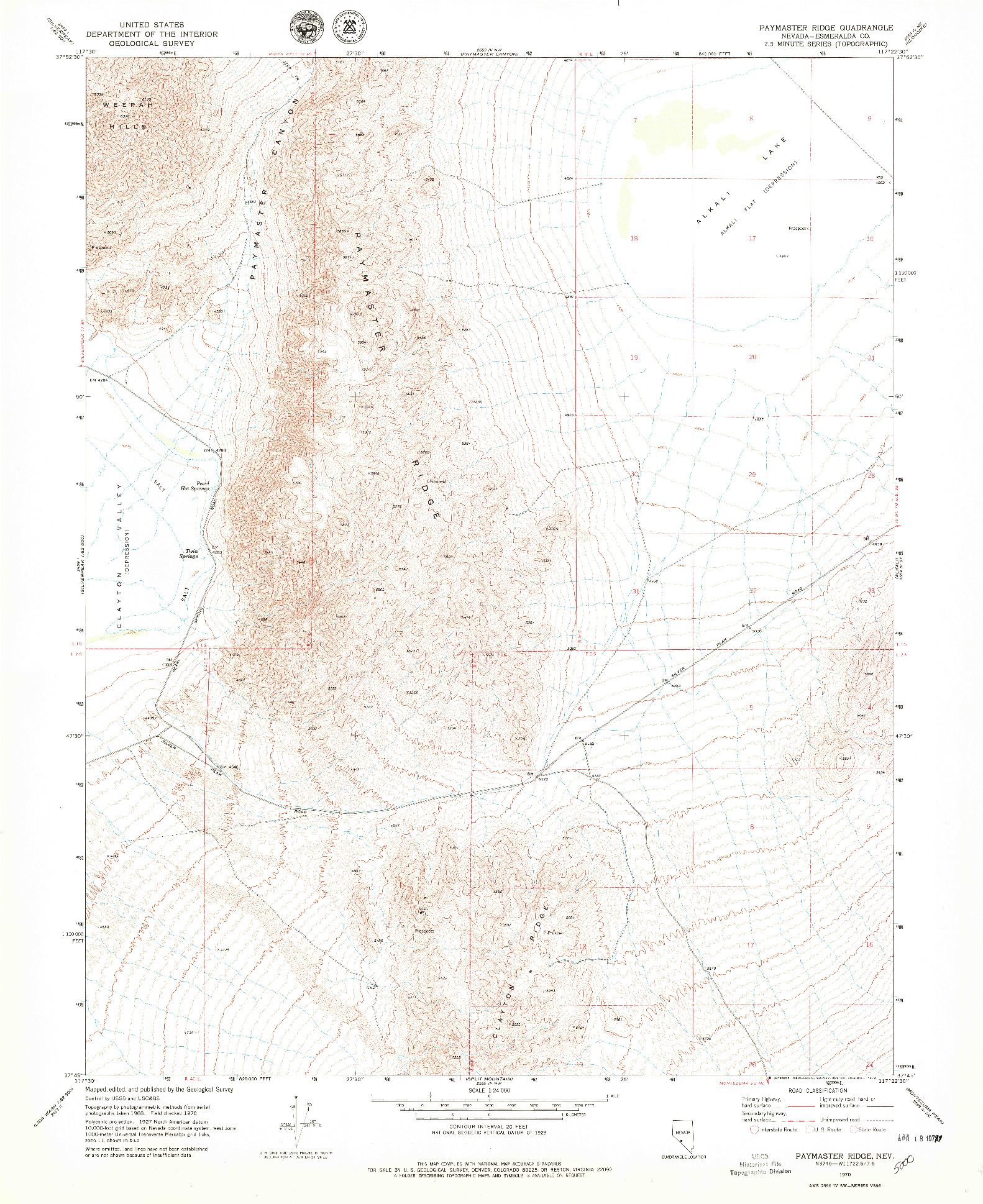 USGS 1:24000-SCALE QUADRANGLE FOR PAYMASTER RIDGE, NV 1970