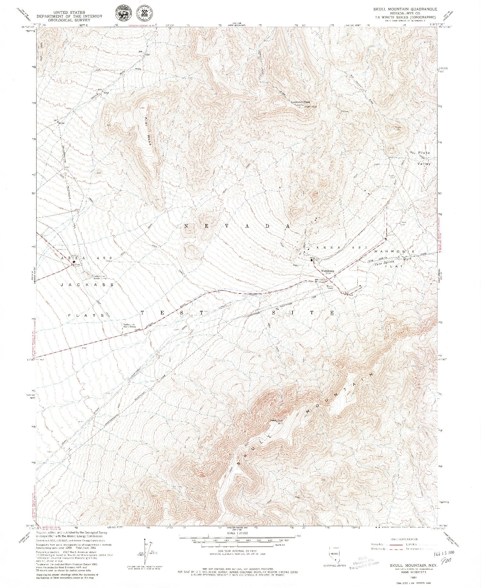 USGS 1:24000-SCALE QUADRANGLE FOR SKULL MOUNTAIN, NV 1961