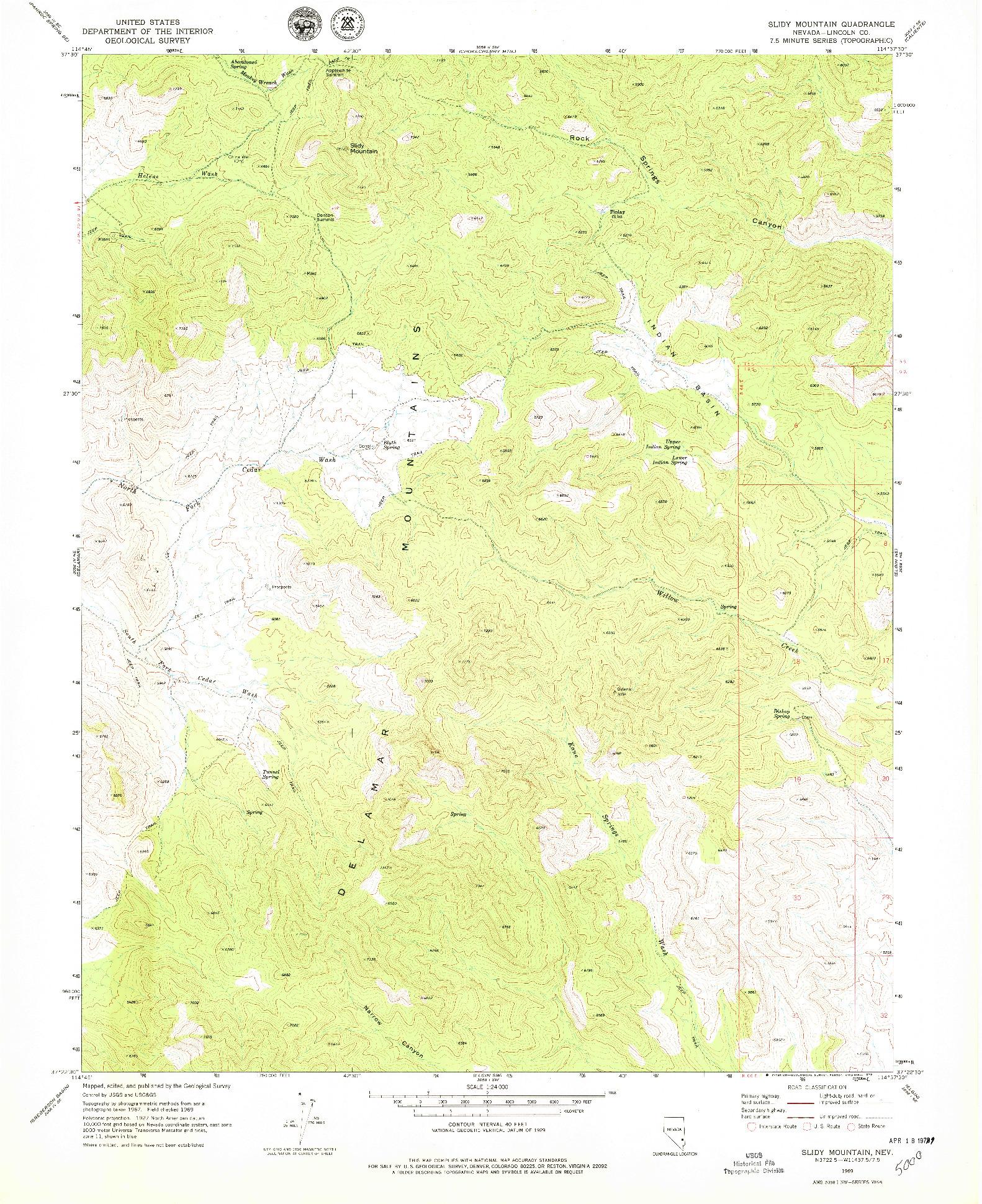 USGS 1:24000-SCALE QUADRANGLE FOR SLIDY MOUNTAIN, NV 1969