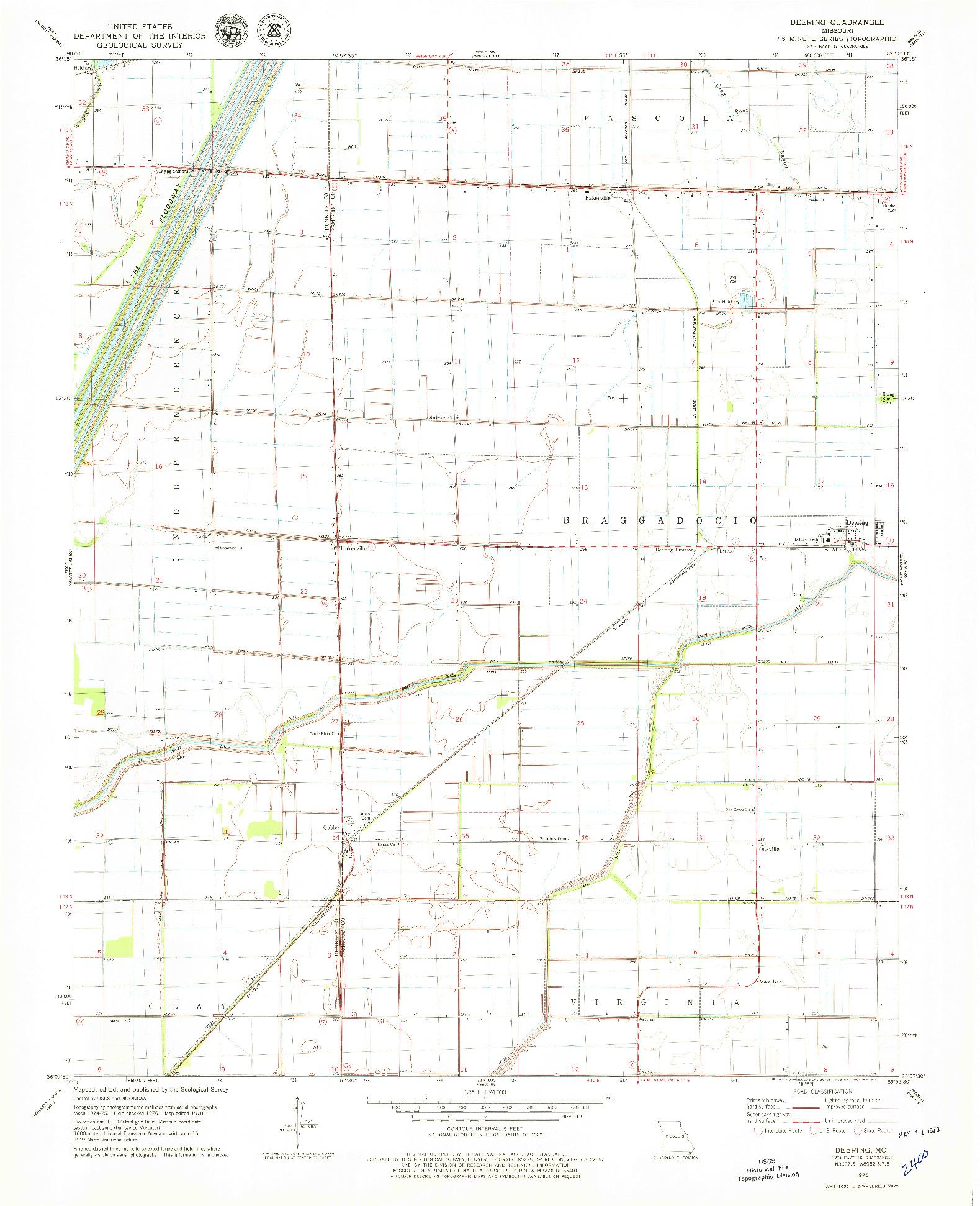 USGS 1:24000-SCALE QUADRANGLE FOR DEERING, MO 1978