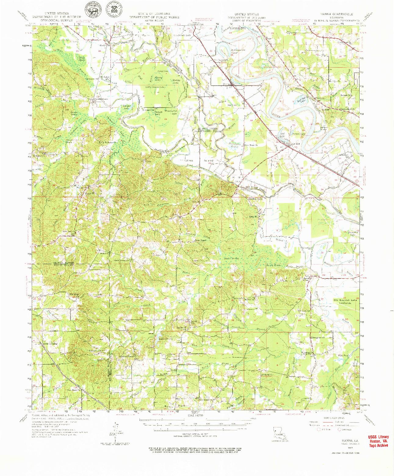 USGS 1:62500-SCALE QUADRANGLE FOR HANNA, LA 1957