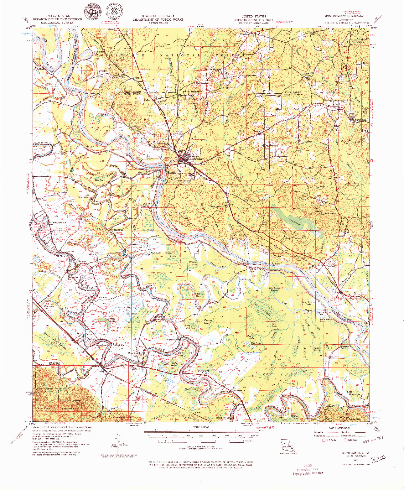 USGS 1:62500-SCALE QUADRANGLE FOR MONTGOMERY, LA 1957