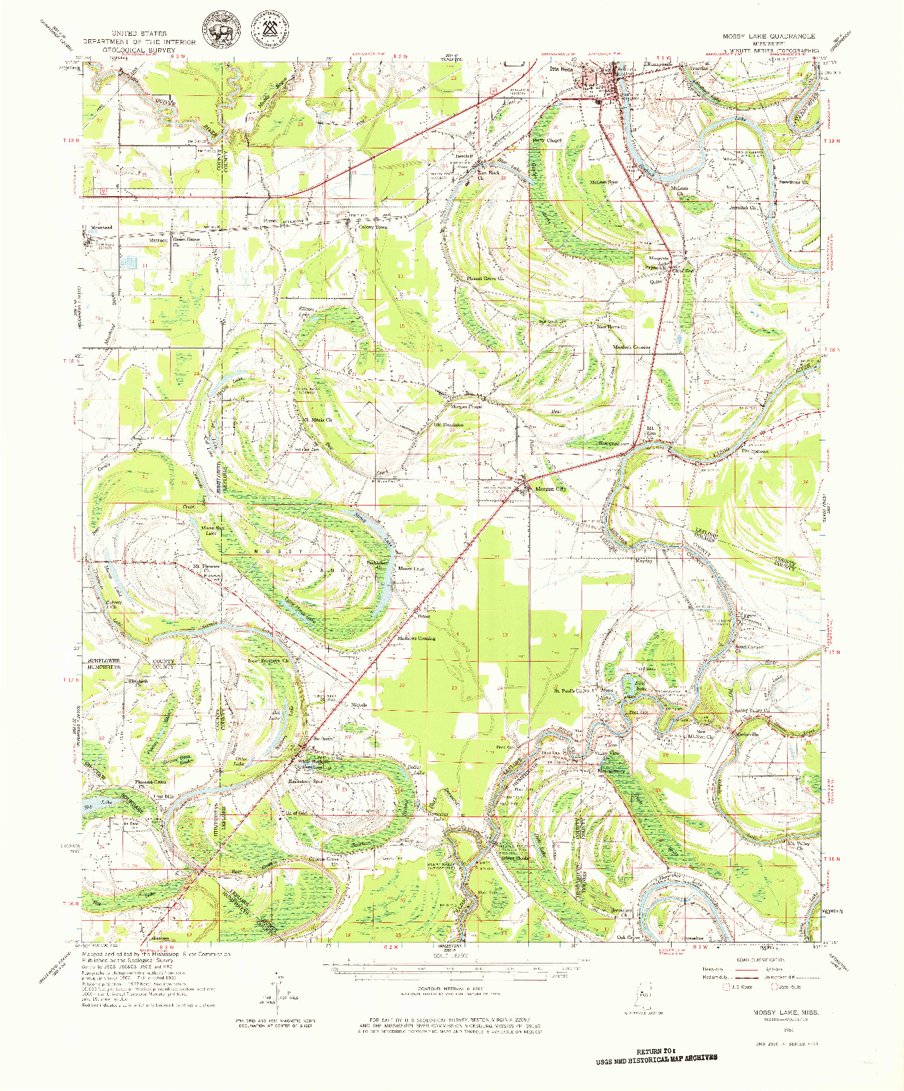 USGS 1:62500-SCALE QUADRANGLE FOR MOSSY LAKE, MS 1961