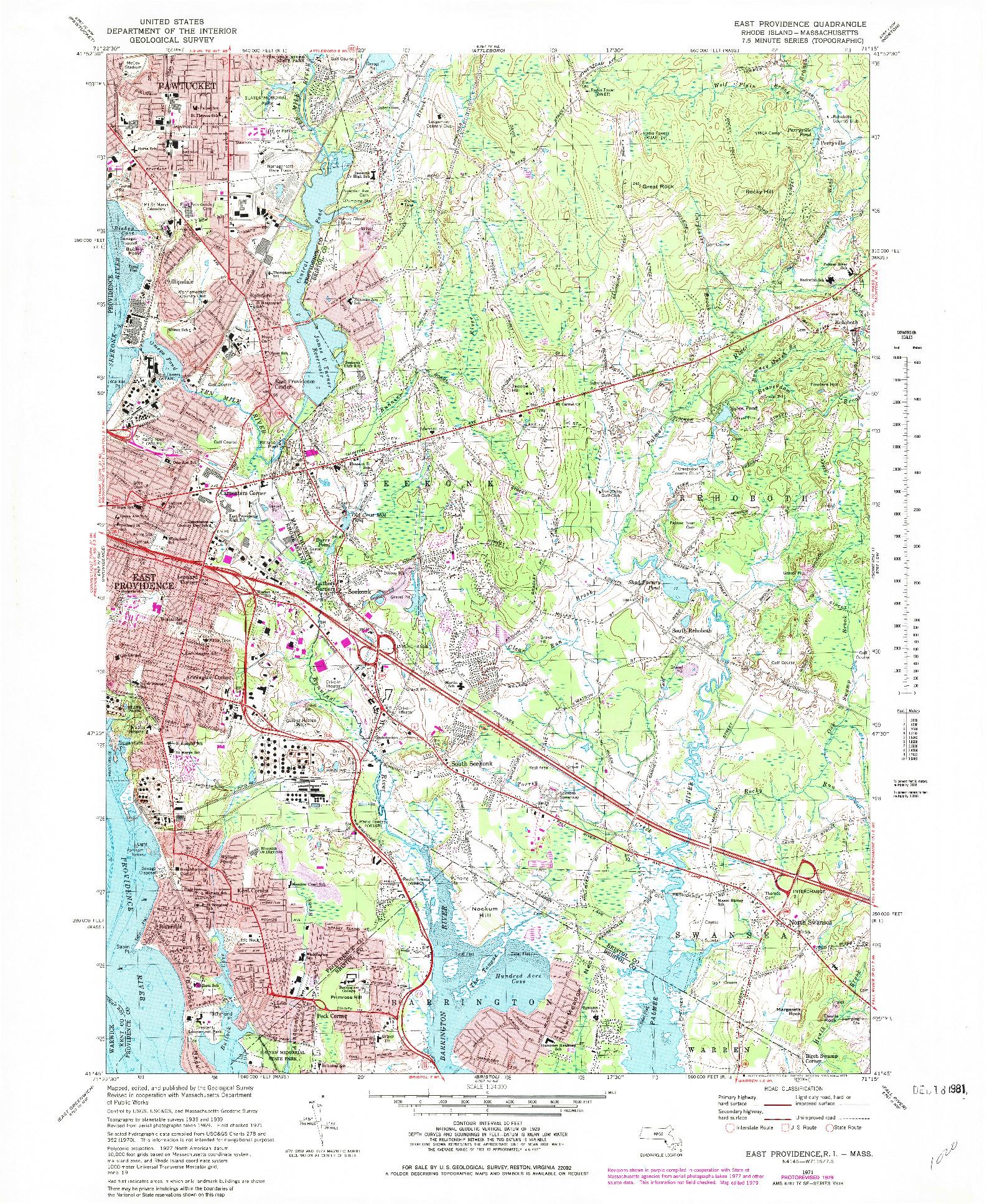 USGS 1:24000-SCALE QUADRANGLE FOR EAST PROVIDENCE, RI 1971