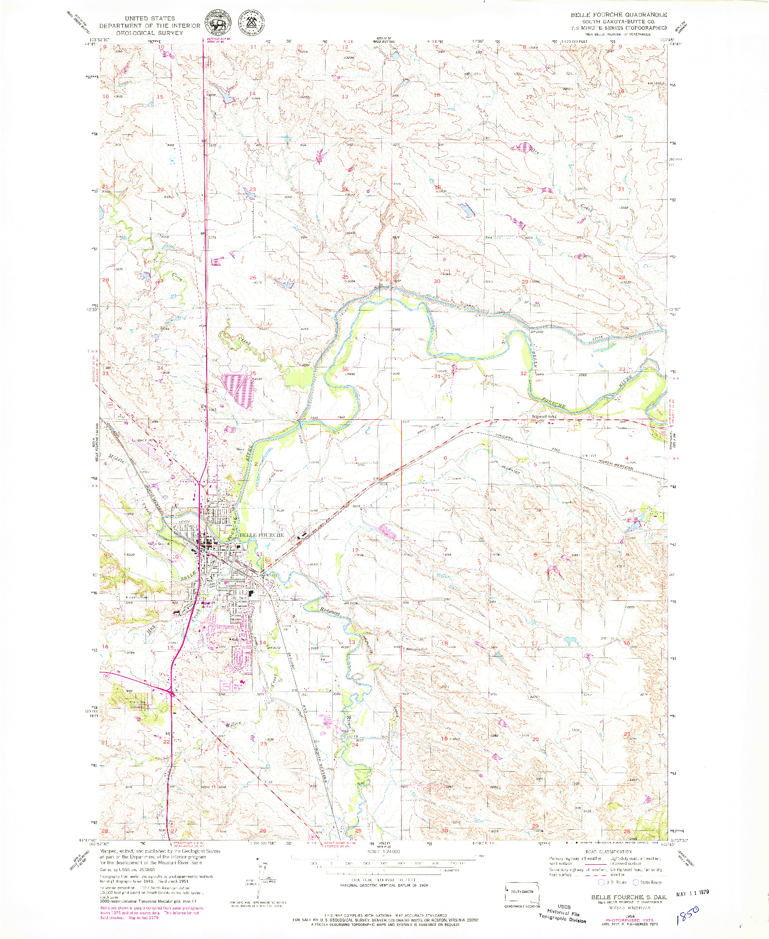 USGS 1:24000-SCALE QUADRANGLE FOR BELLE FOURCHE, SD 1954