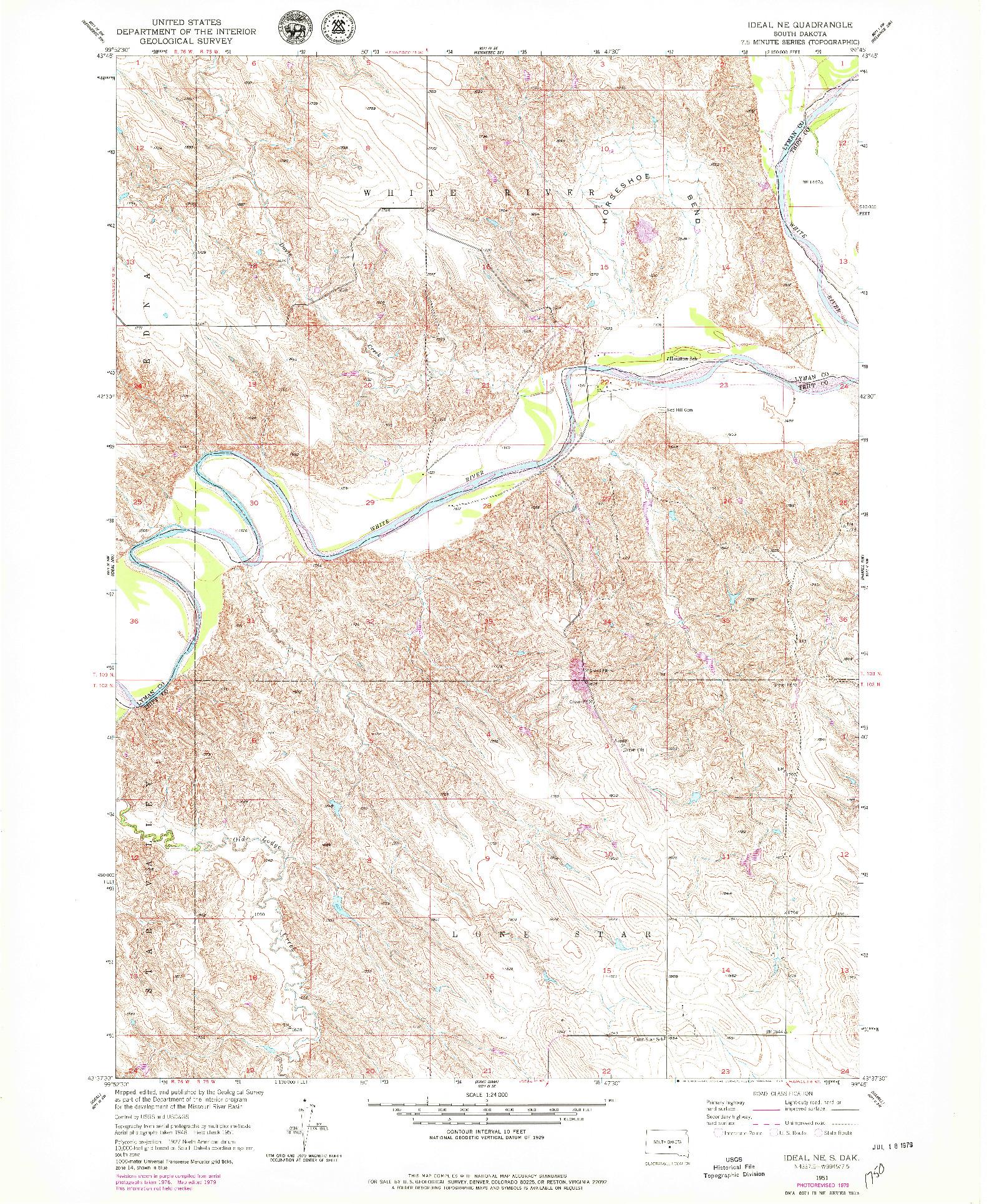 USGS 1:24000-SCALE QUADRANGLE FOR IDEAL NE, SD 1951