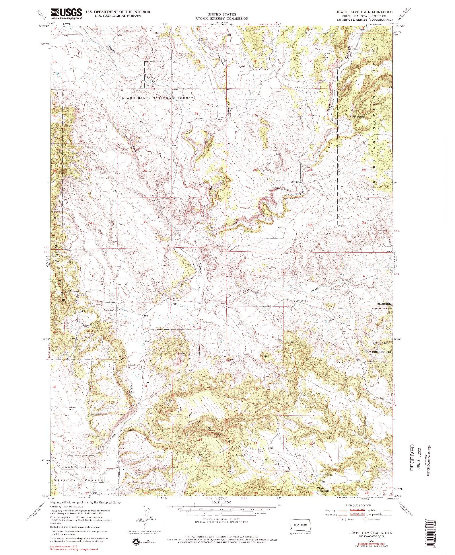 USGS 1:24000-SCALE QUADRANGLE FOR JEWEL CAVE SW, SD 1954