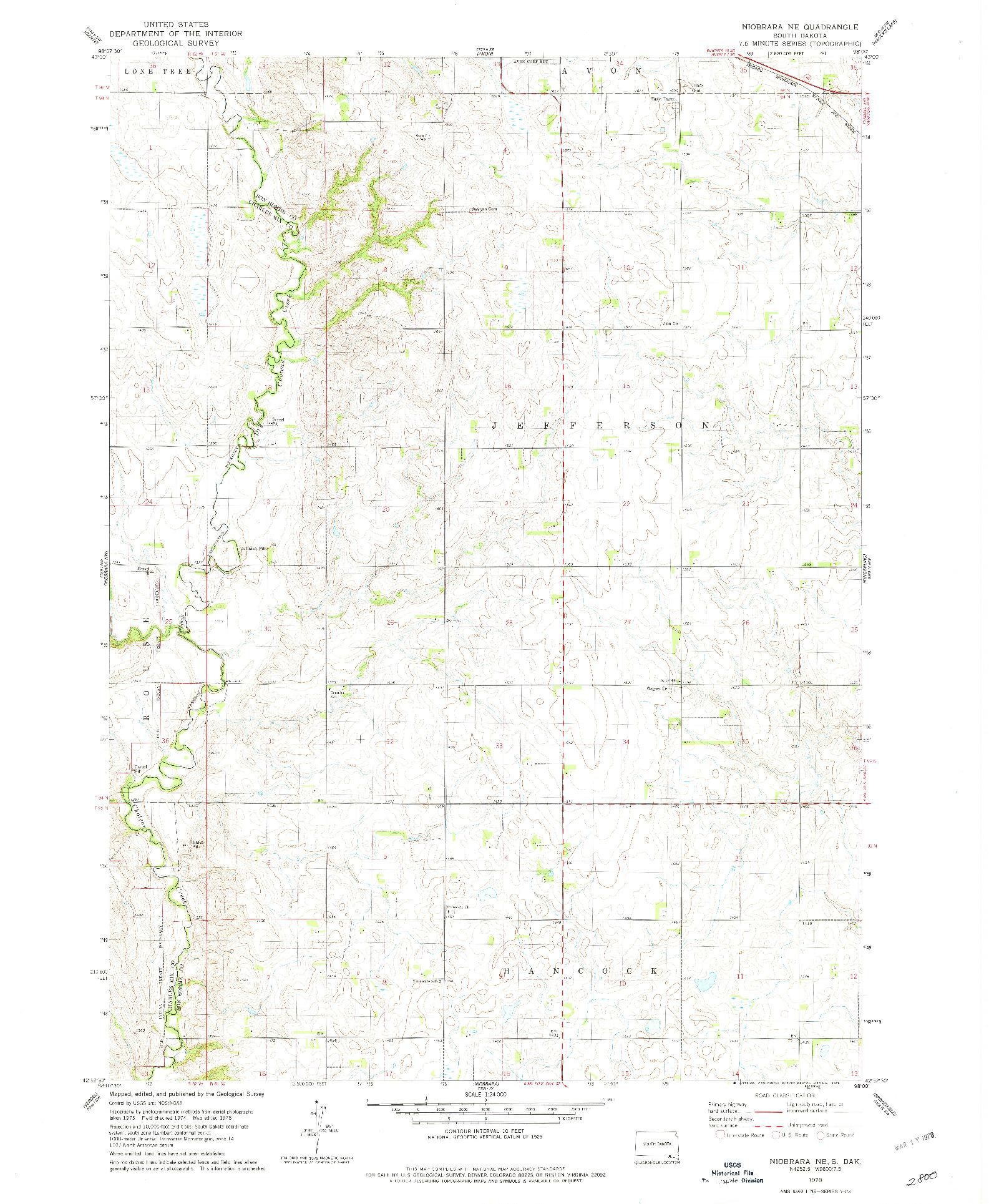 USGS 1:24000-SCALE QUADRANGLE FOR NIOBRARA NE, SD 1978