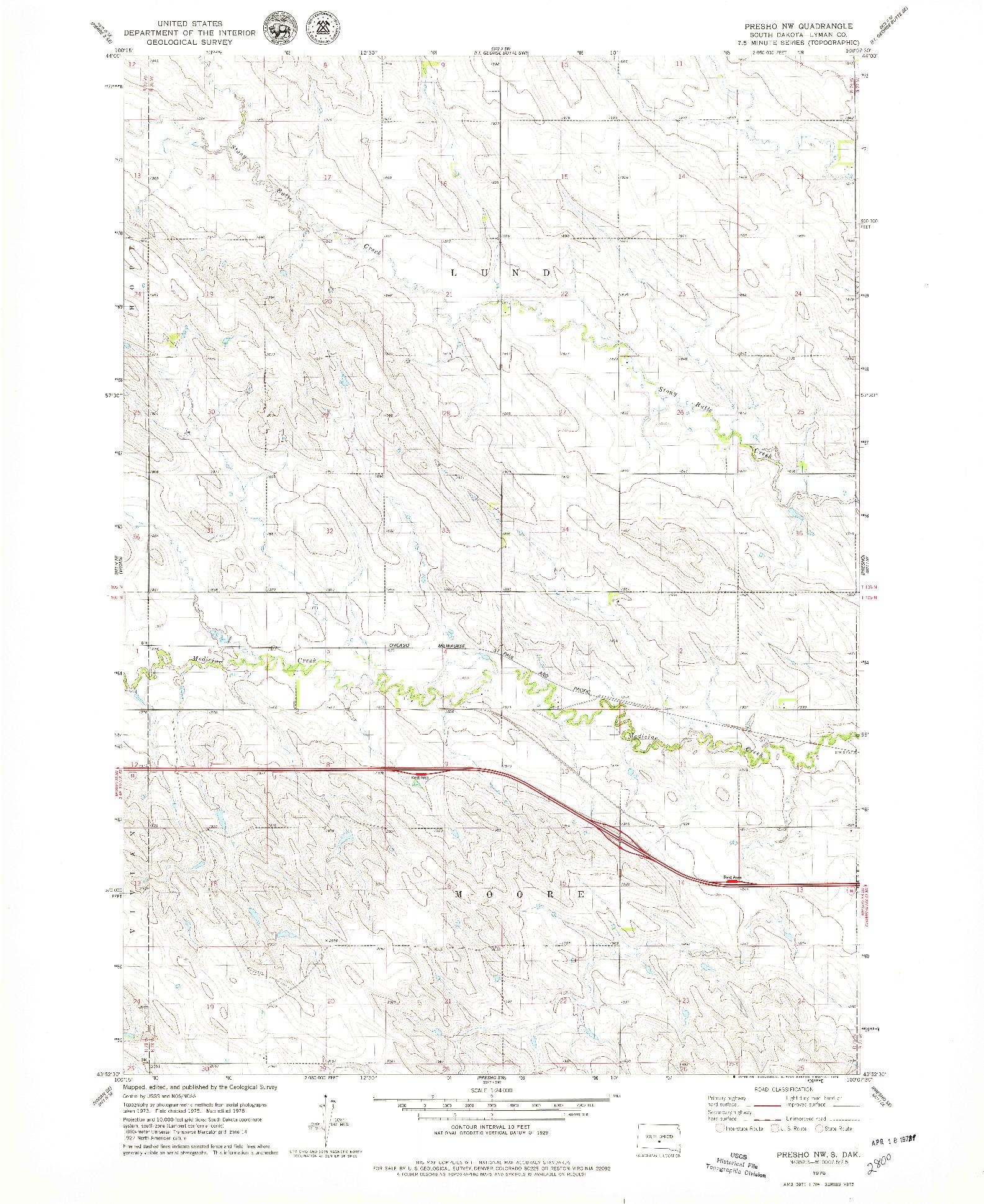 USGS 1:24000-SCALE QUADRANGLE FOR PRESHO NW, SD 1978