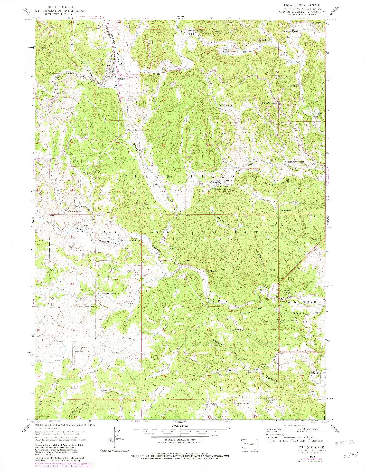 USGS 1:24000-SCALE QUADRANGLE FOR PRINGLE, SD 1956
