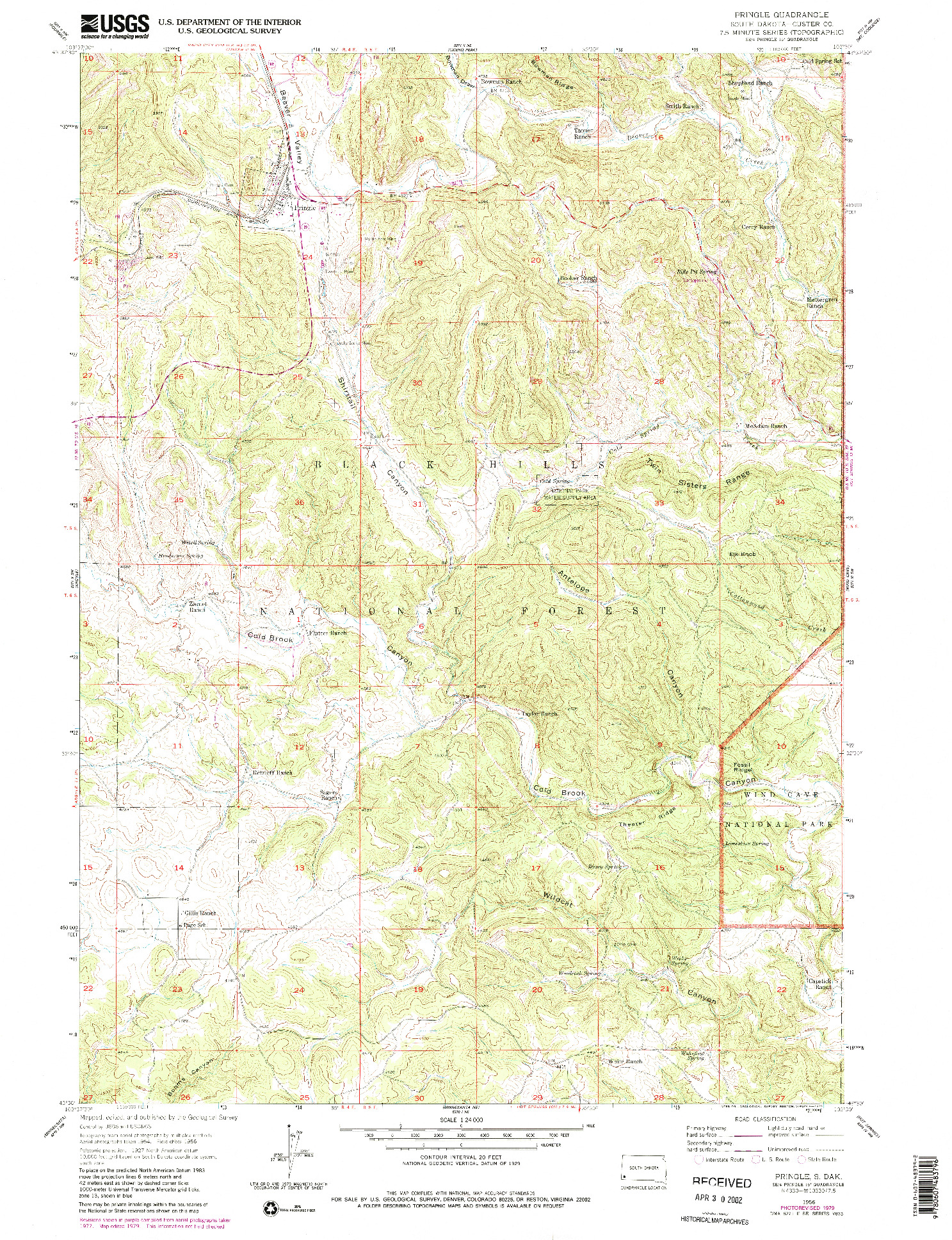 USGS 1:24000-SCALE QUADRANGLE FOR PRINGLE, SD 1956