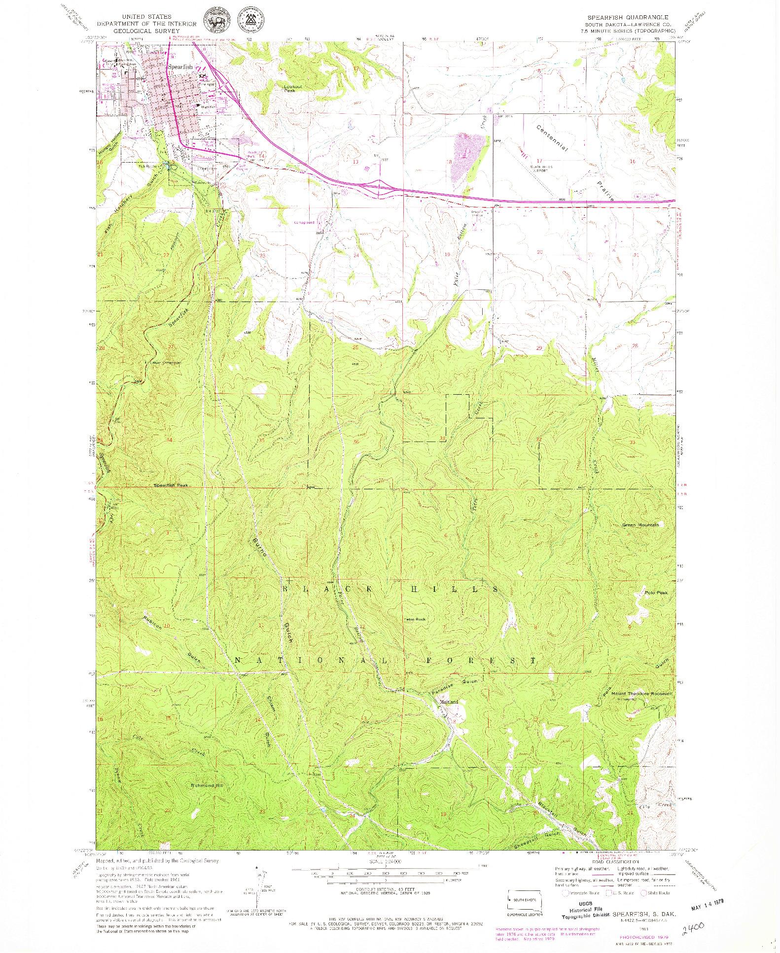 USGS 1:24000-SCALE QUADRANGLE FOR SPEARFISH, SD 1961