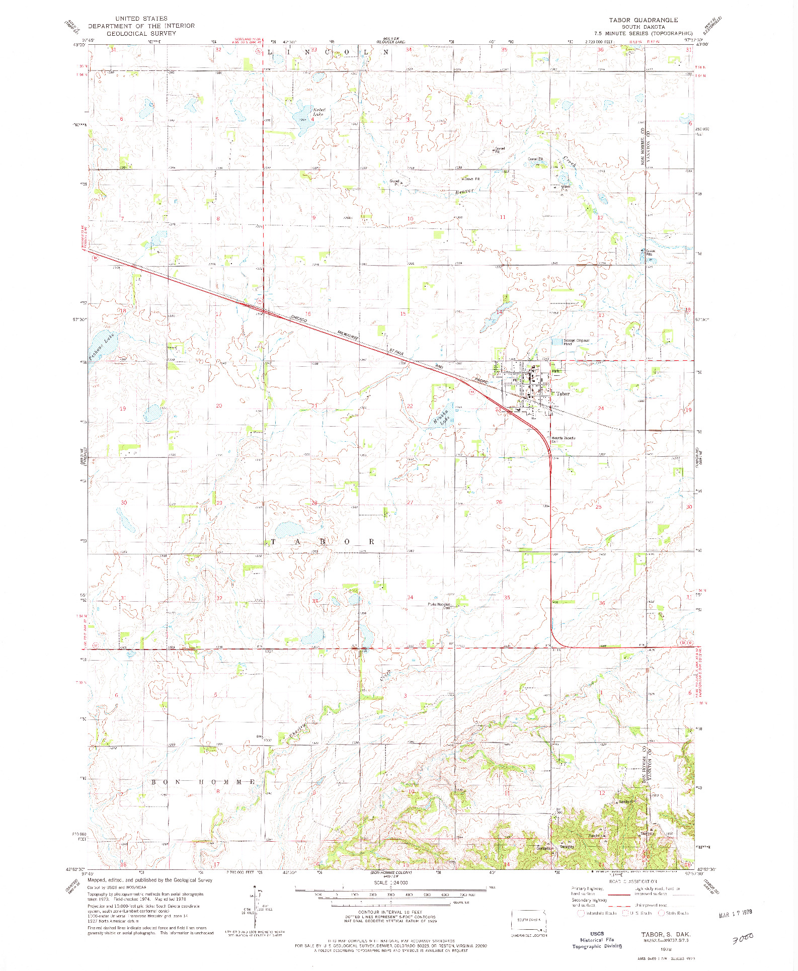 USGS 1:24000-SCALE QUADRANGLE FOR TABOR, SD 1978