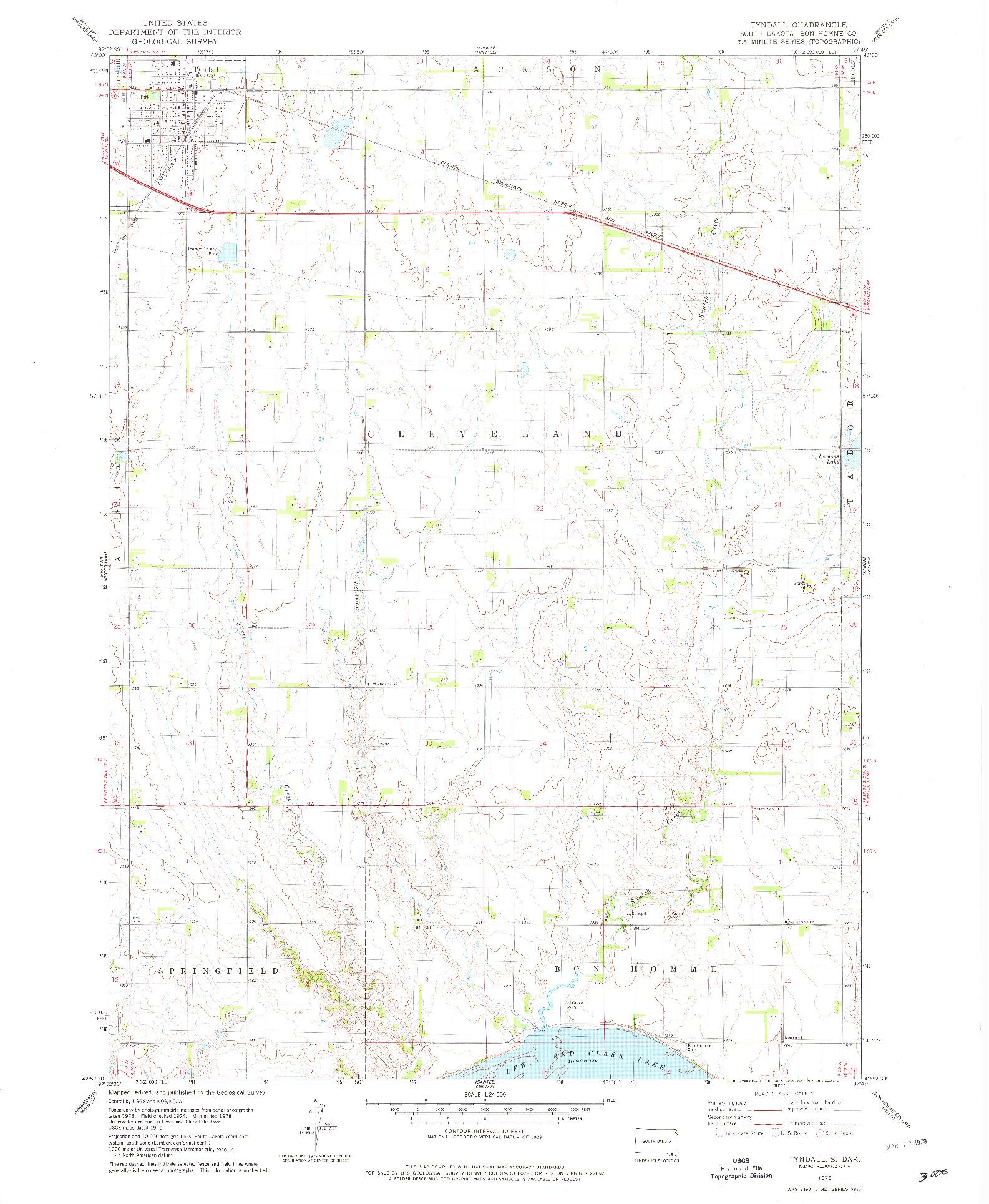 USGS 1:24000-SCALE QUADRANGLE FOR TYNDALL, SD 1978