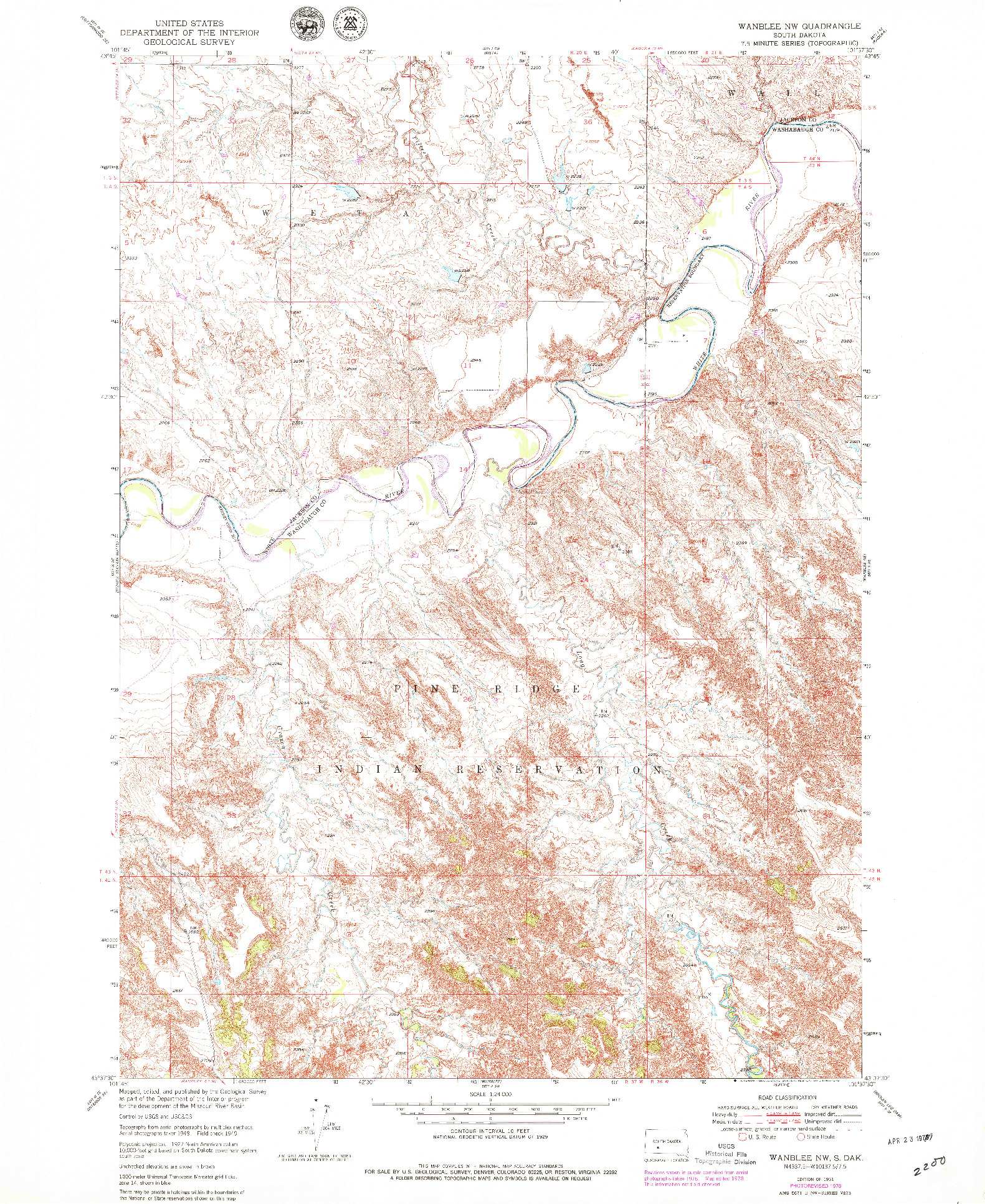 USGS 1:24000-SCALE QUADRANGLE FOR WANBLEE NW, SD 1951