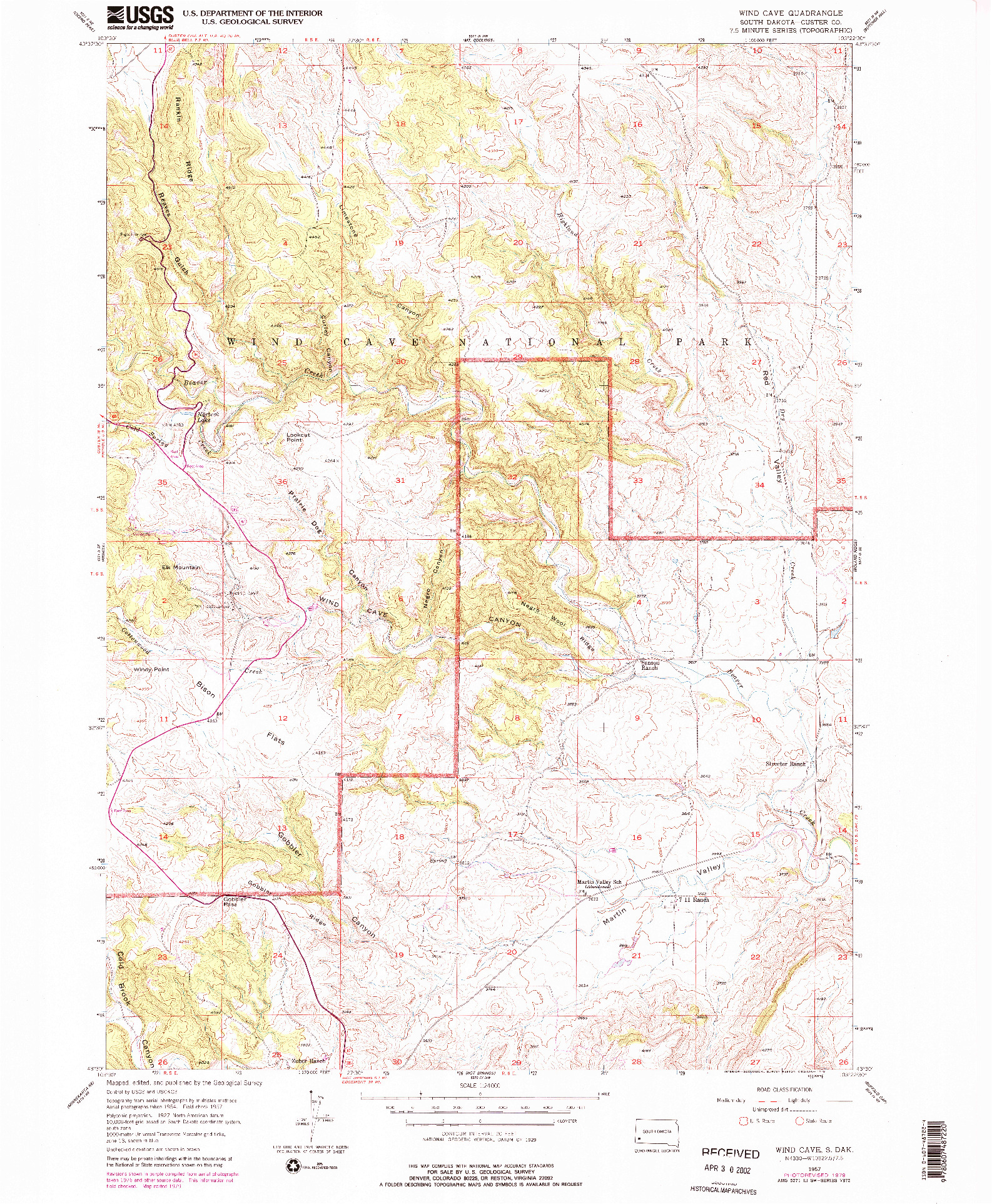 USGS 1:24000-SCALE QUADRANGLE FOR WIND CAVE, SD 1957