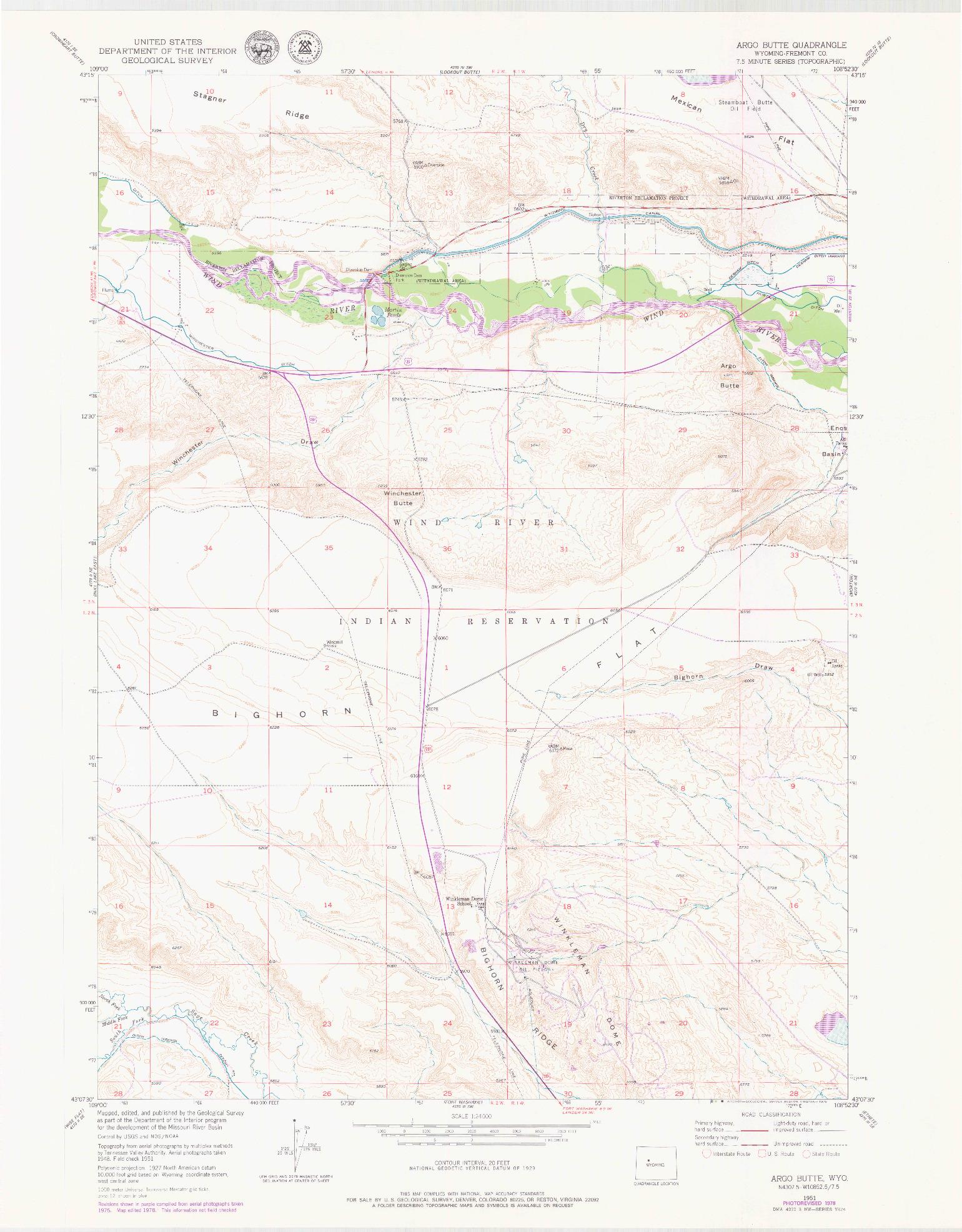 USGS 1:24000-SCALE QUADRANGLE FOR ARGO BUTTE, WY 1951