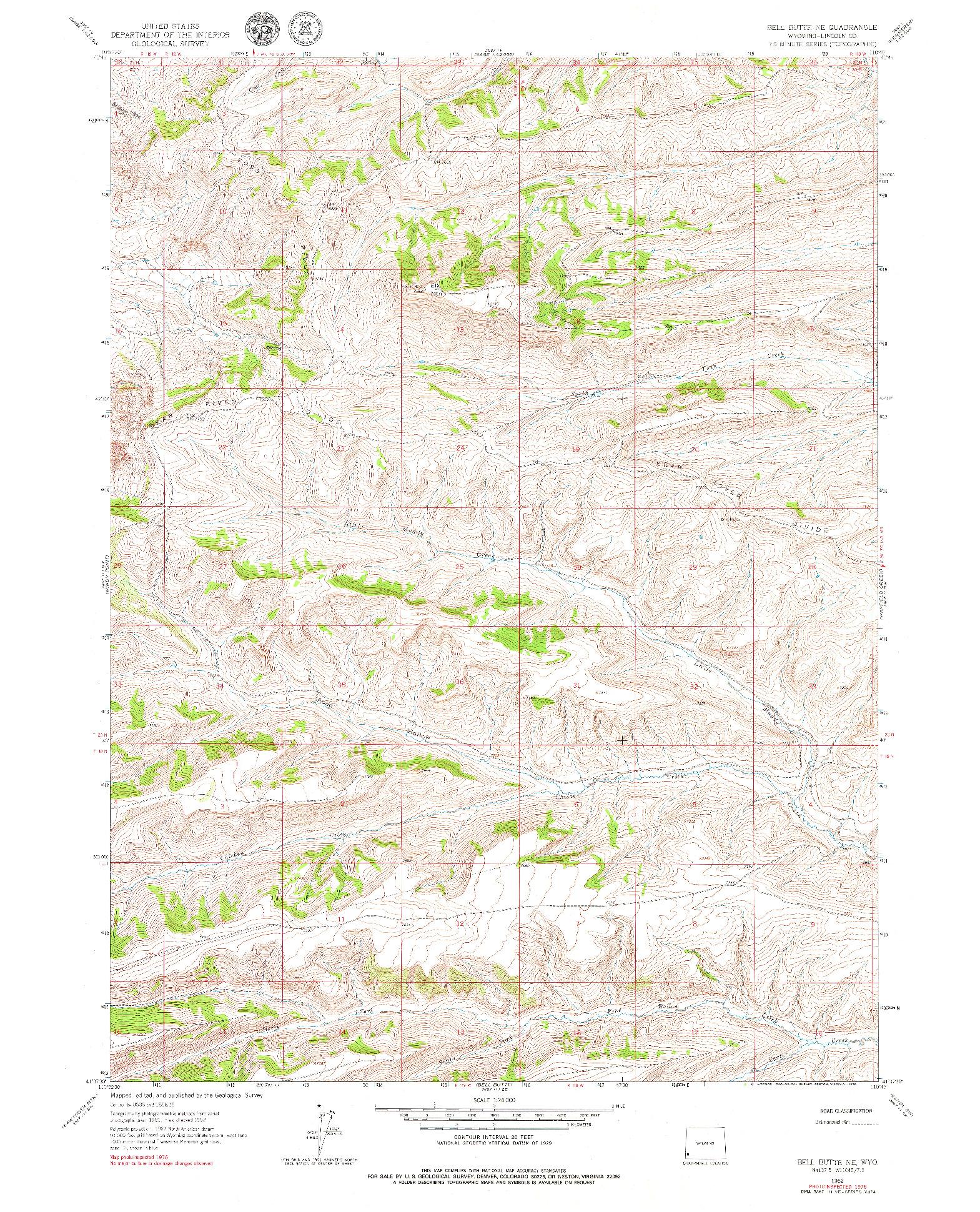 USGS 1:24000-SCALE QUADRANGLE FOR BELL BUTTE NE, WY 1962