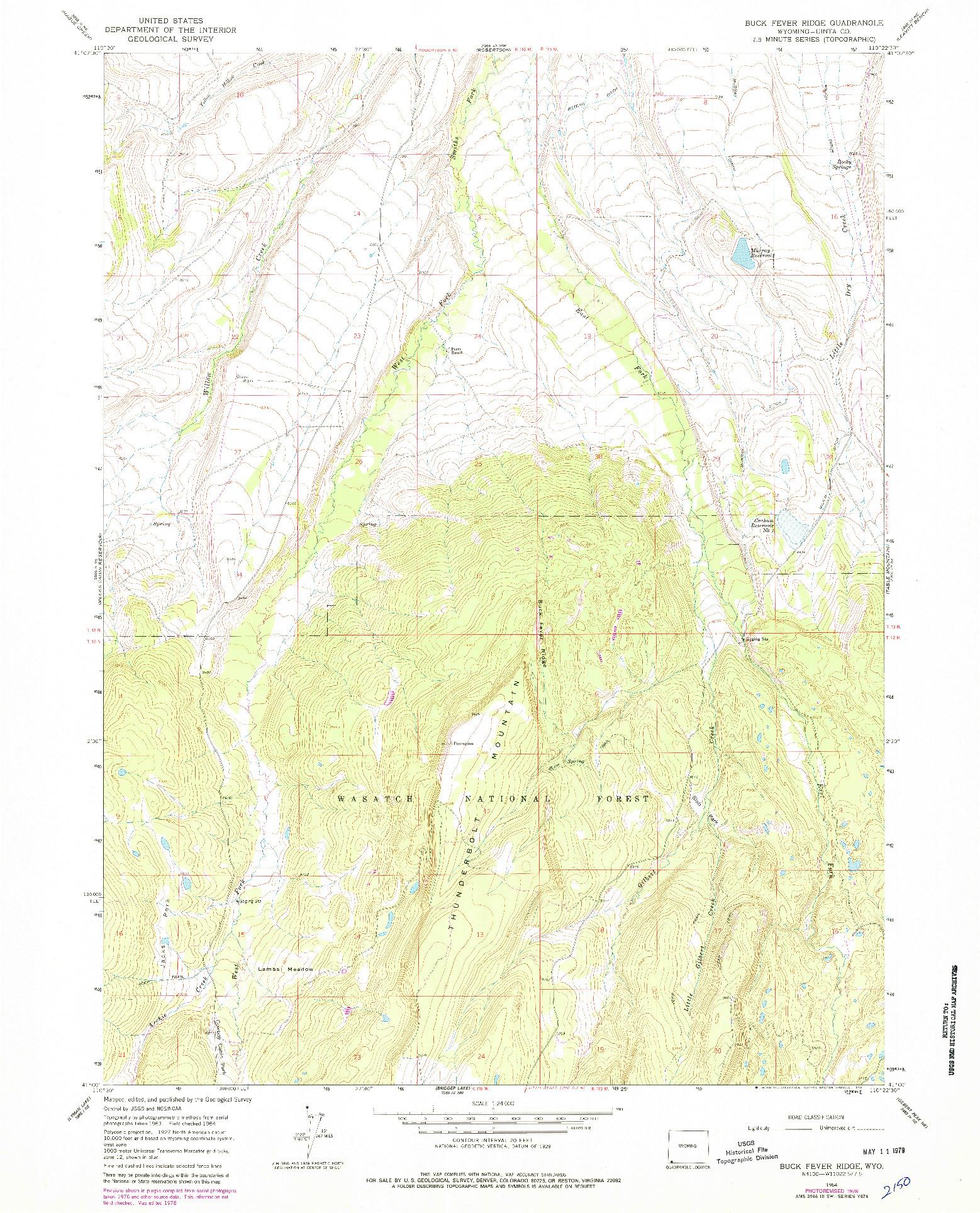 USGS 1:24000-SCALE QUADRANGLE FOR BUCK FEVER RIDGE, WY 1964