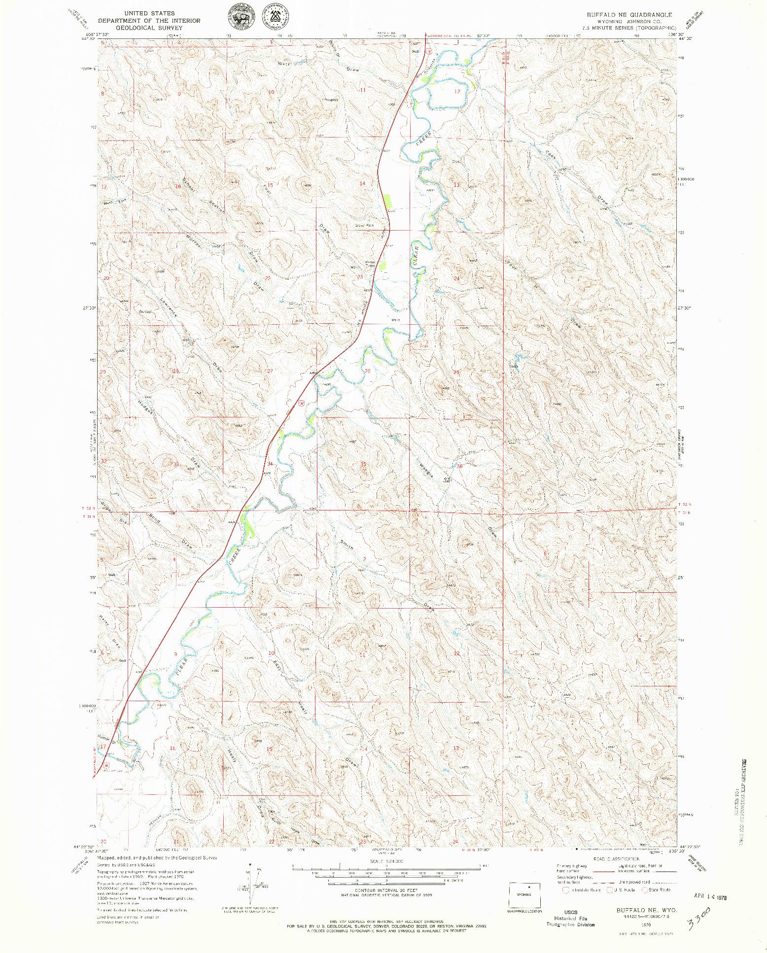 USGS 1:24000-SCALE QUADRANGLE FOR BUFFALO NE, WY 1970