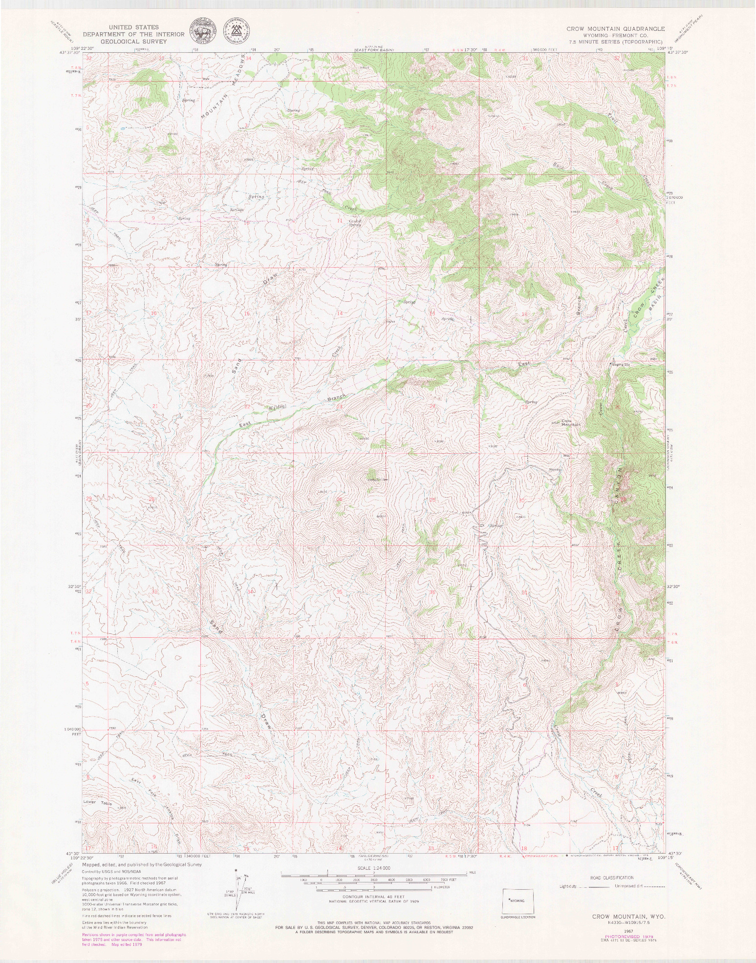 USGS 1:24000-SCALE QUADRANGLE FOR CROW MOUNTAIN, WY 1967
