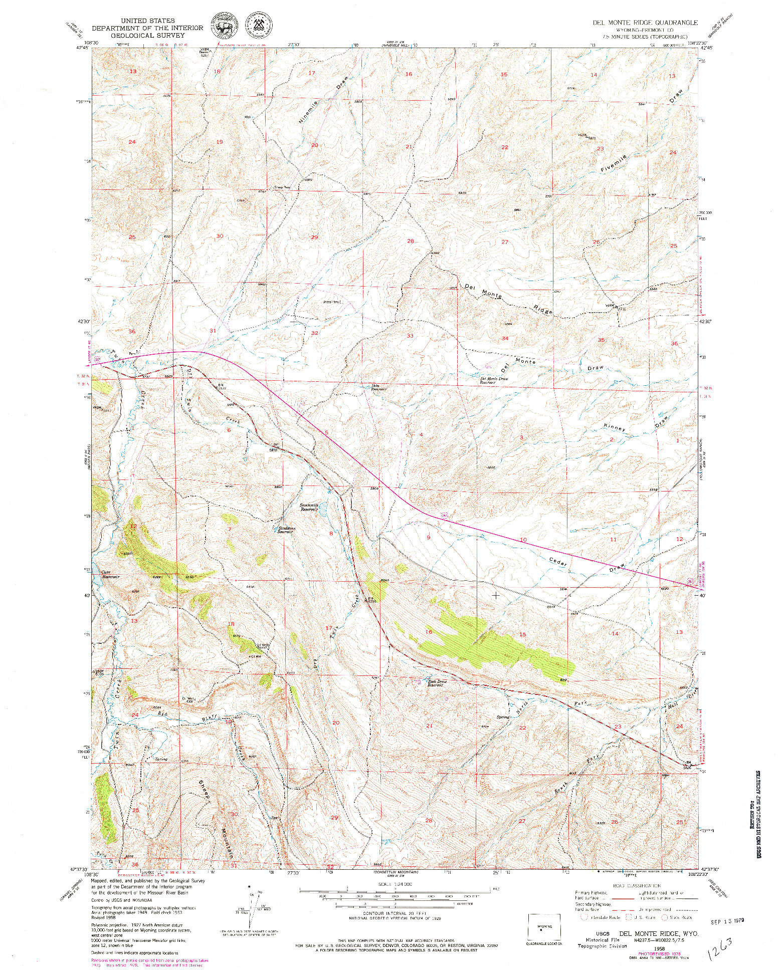 USGS 1:24000-SCALE QUADRANGLE FOR DEL MONTE RIDGE, WY 1958
