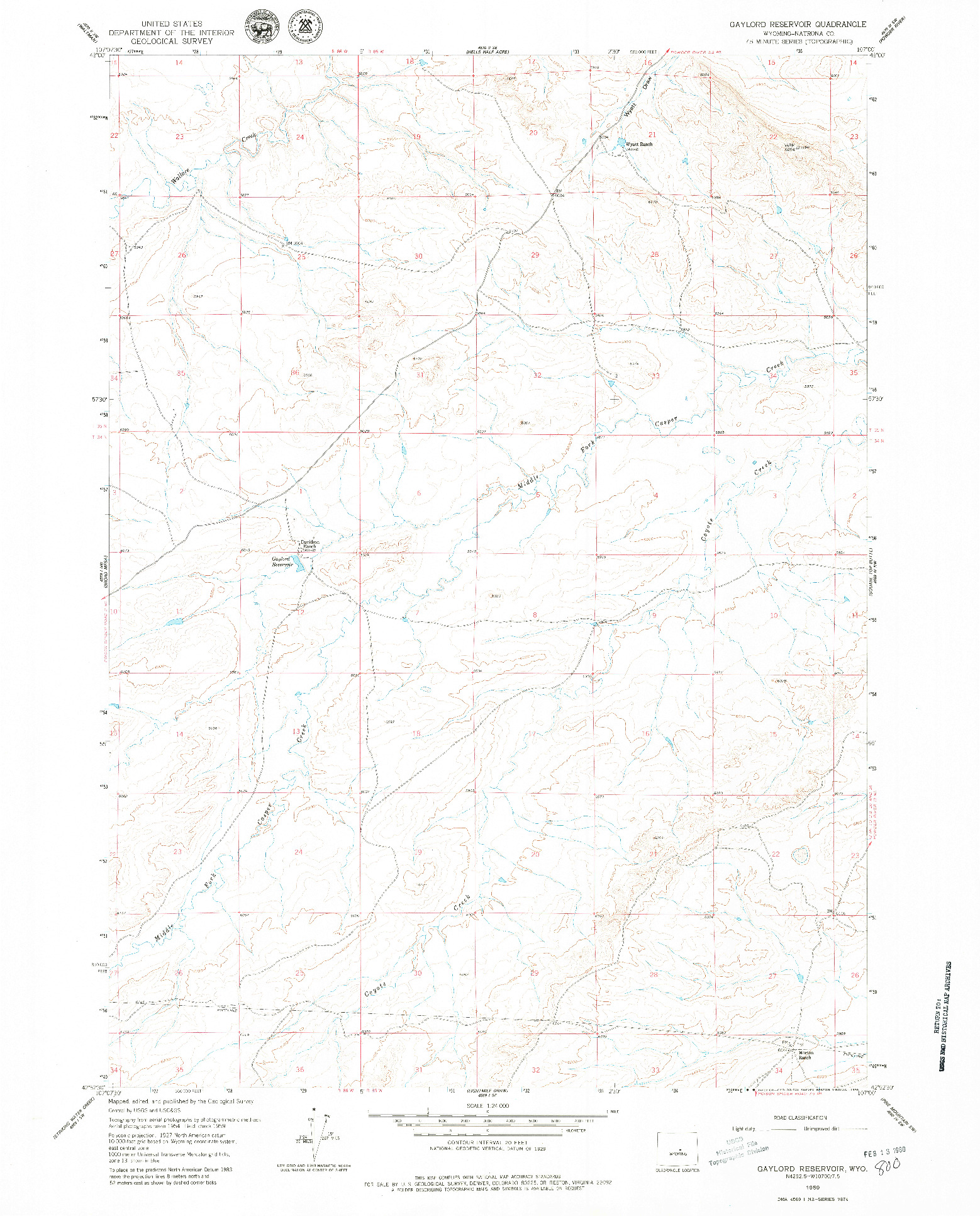 USGS 1:24000-SCALE QUADRANGLE FOR GAYLORD RESERVOIR, WY 1959