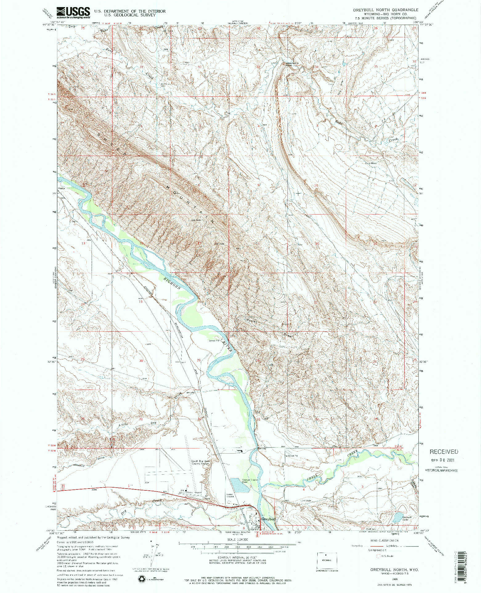 USGS 1:24000-SCALE QUADRANGLE FOR GREYBULL NORTH, WY 1966