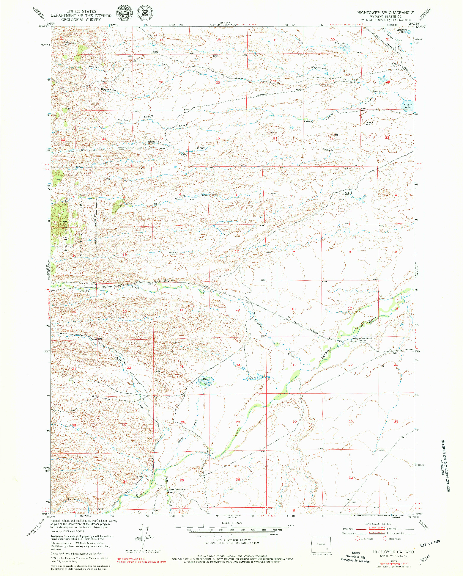 USGS 1:24000-SCALE QUADRANGLE FOR HIGHTOWER SW, WY 1953