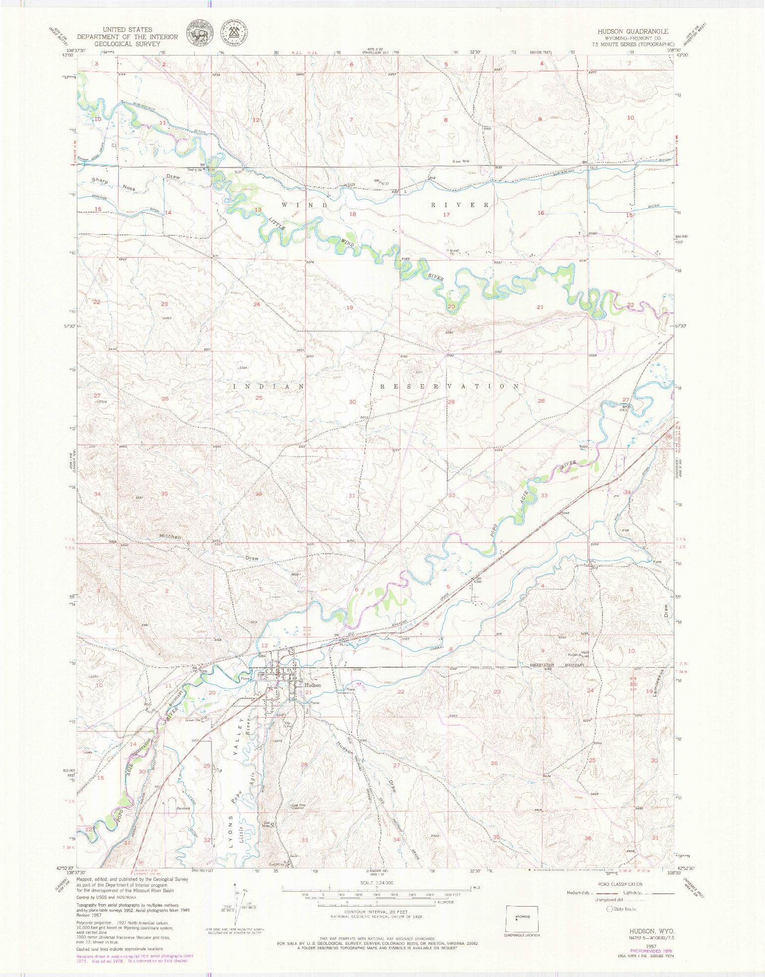 USGS 1:24000-SCALE QUADRANGLE FOR HUDSON, WY 1957