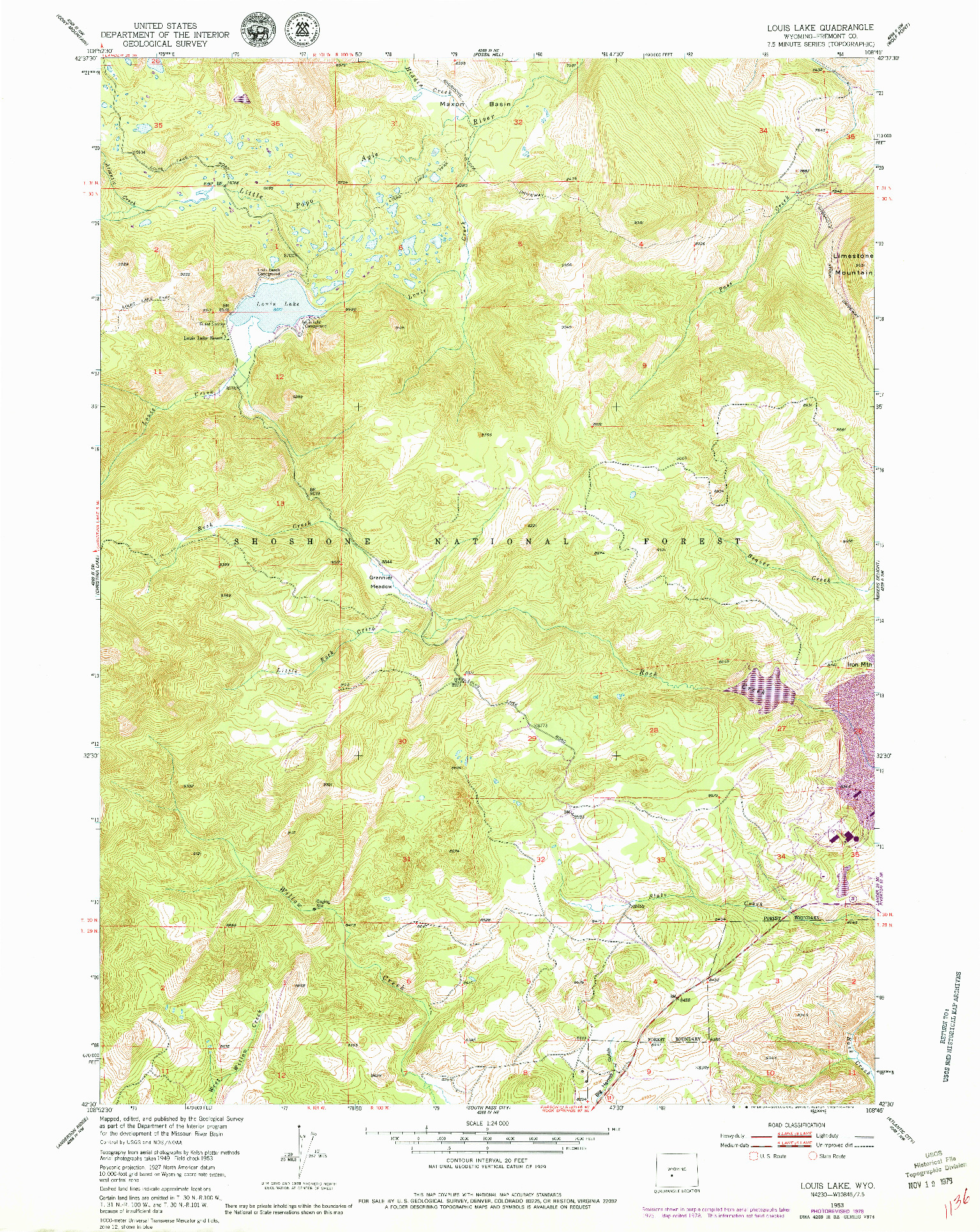 USGS 1:24000-SCALE QUADRANGLE FOR LOUIS LAKE, WY 1953