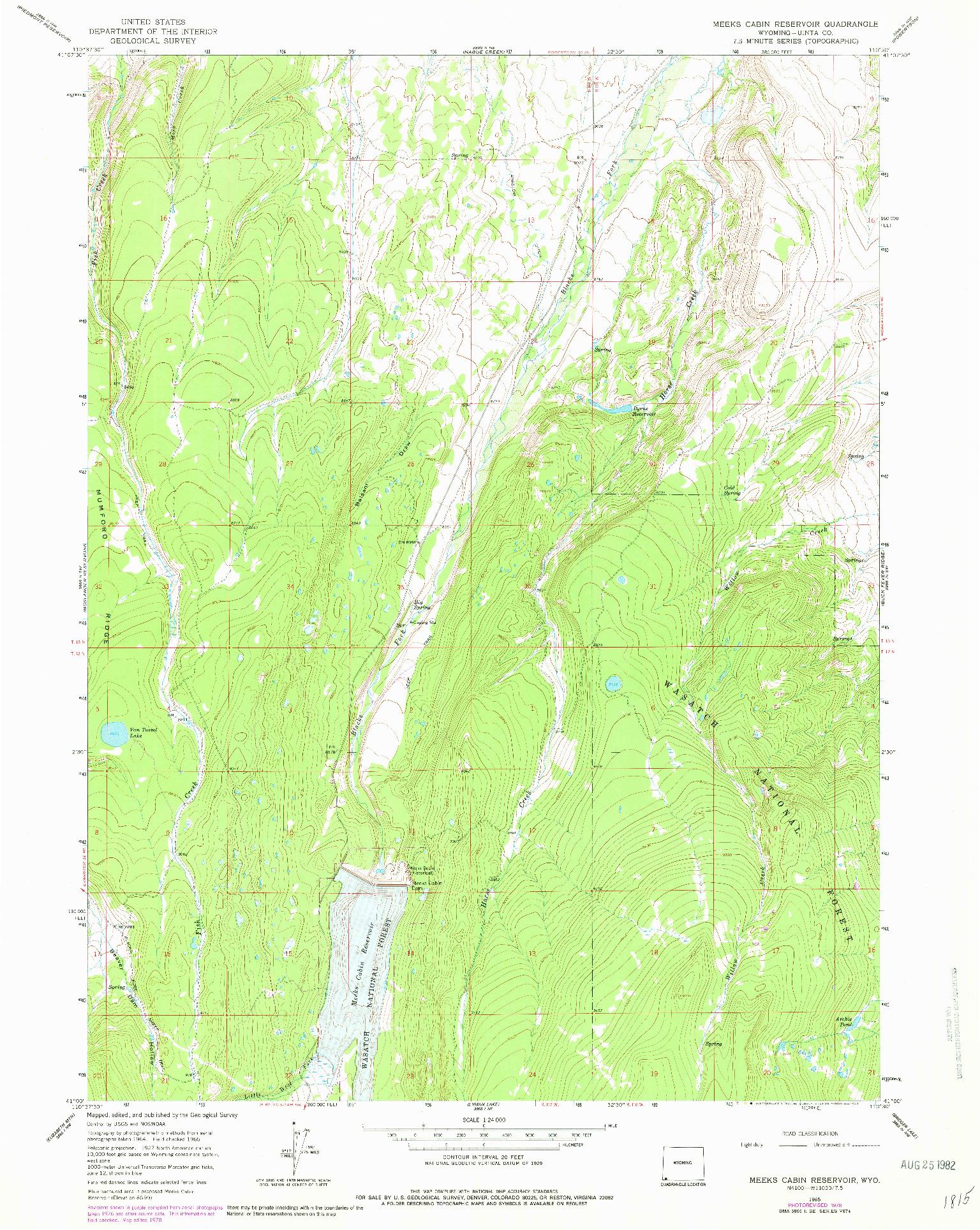 USGS 1:24000-SCALE QUADRANGLE FOR MEEKS CABIN RESERVOIR, WY 1965