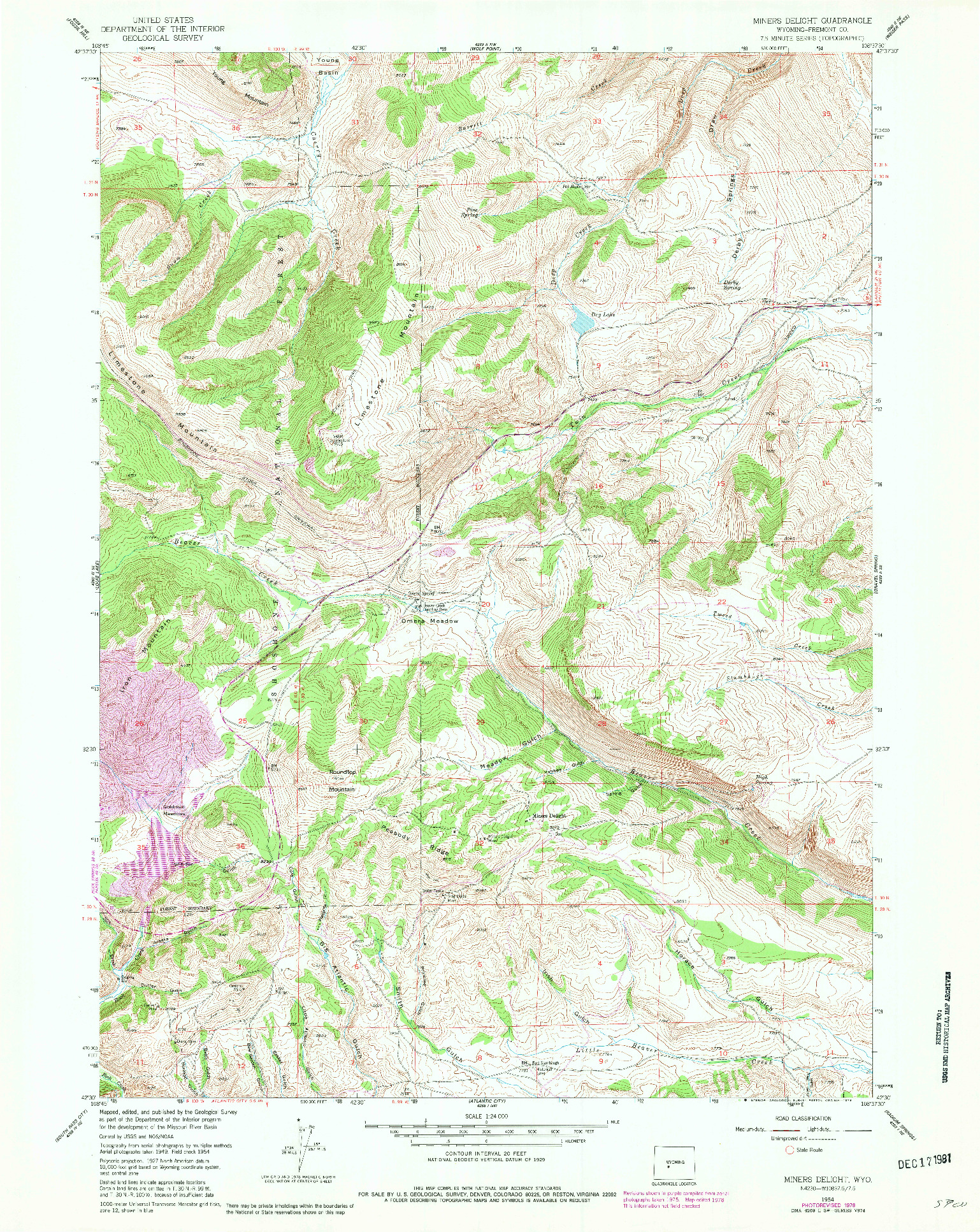 USGS 1:24000-SCALE QUADRANGLE FOR MINERS DELIGHT, WY 1954