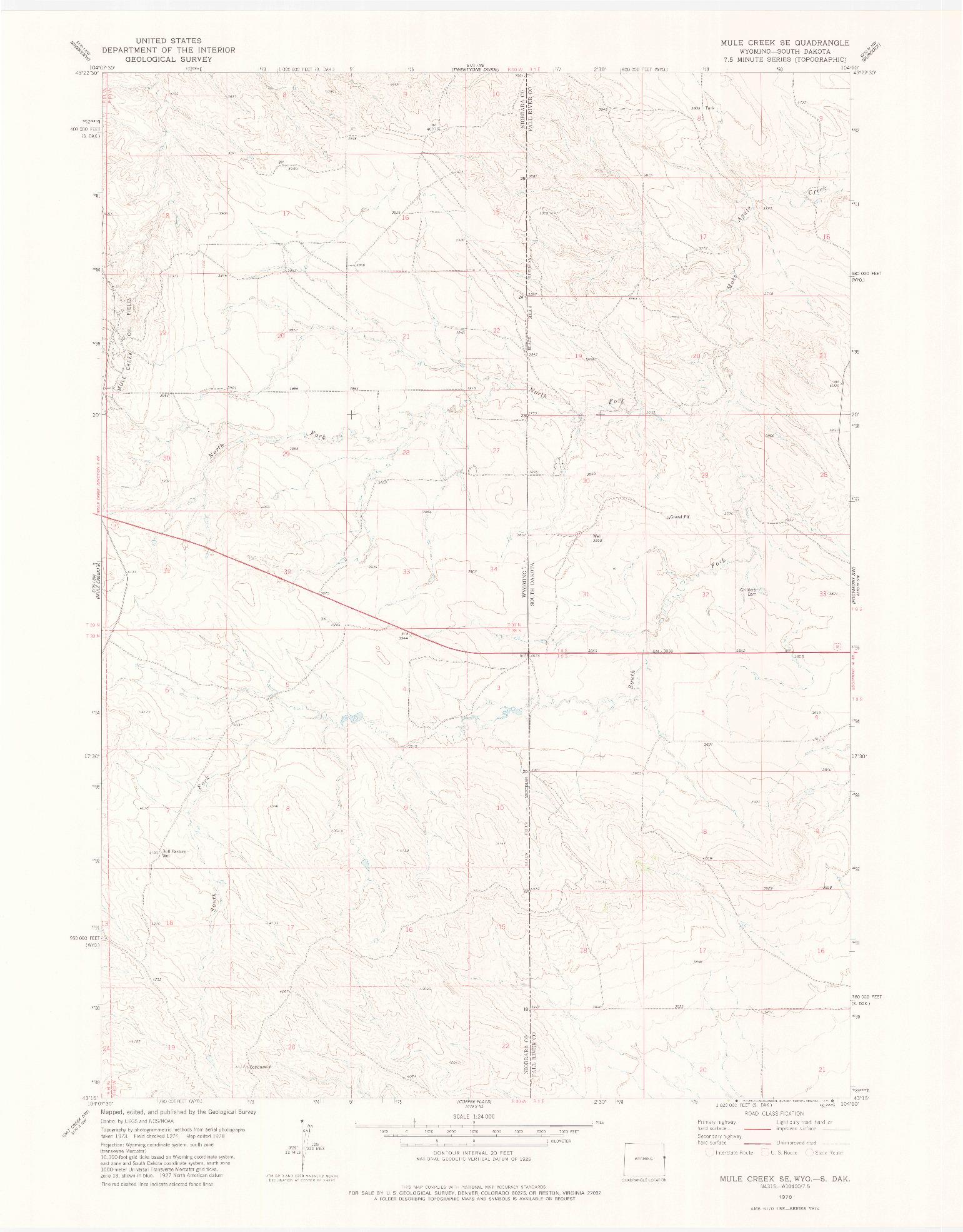 USGS 1:24000-SCALE QUADRANGLE FOR MULE CREEK SE, WY 1978