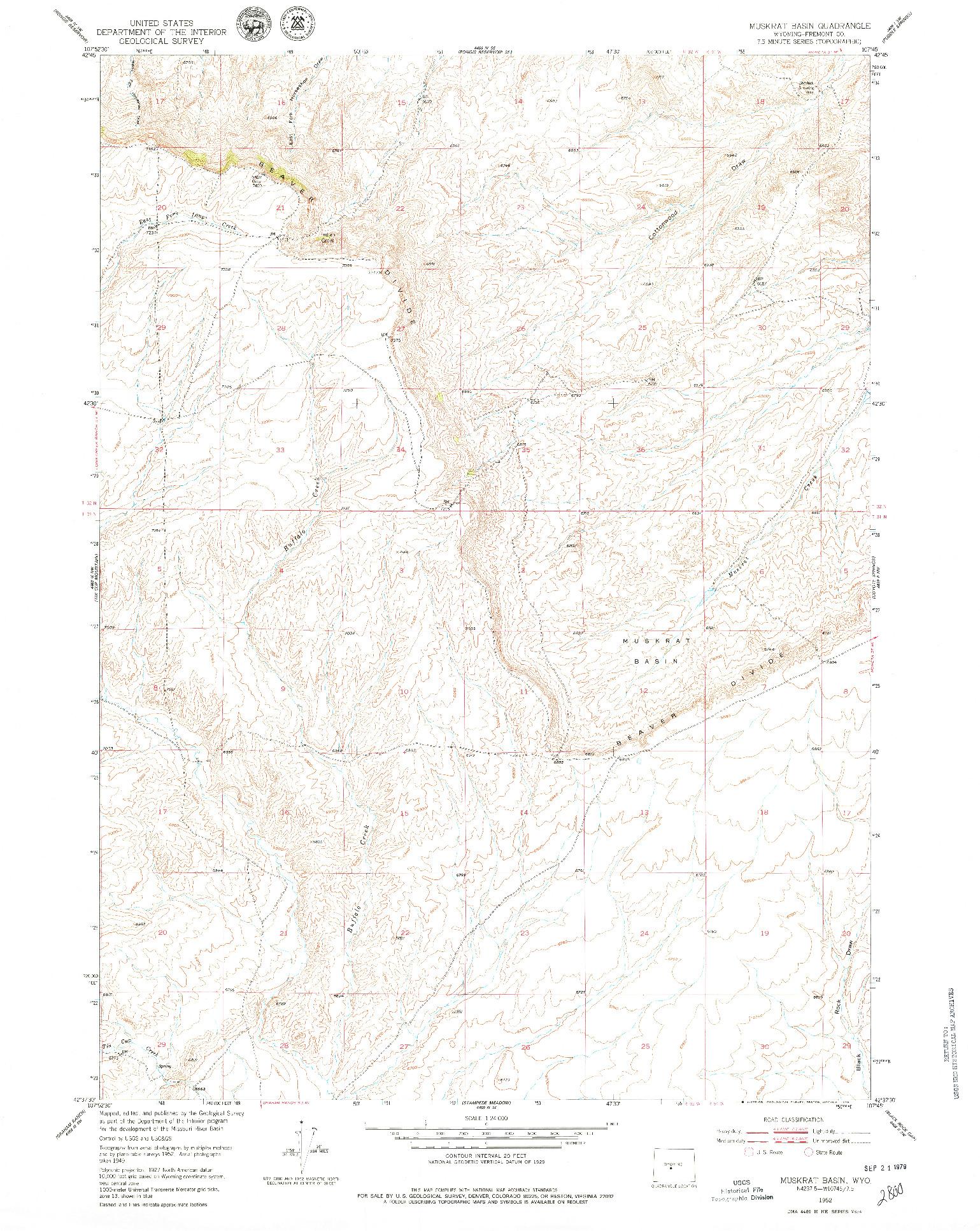 USGS 1:24000-SCALE QUADRANGLE FOR MUSKRAT BASIN, WY 1952