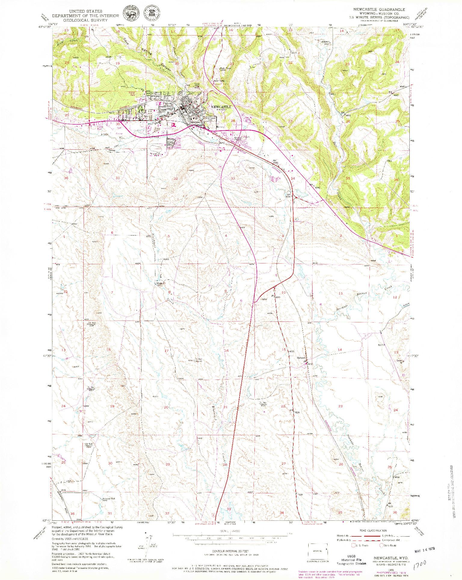 USGS 1:24000-SCALE QUADRANGLE FOR NEWCASTLE, WY 1951