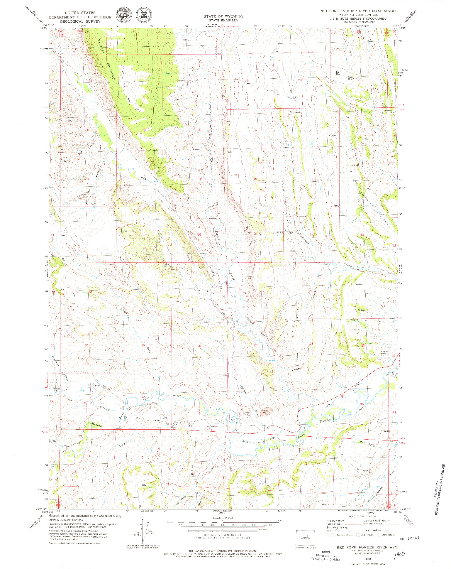 USGS 1:24000-SCALE QUADRANGLE FOR RED FORK POWDER RIVER, WY 1979