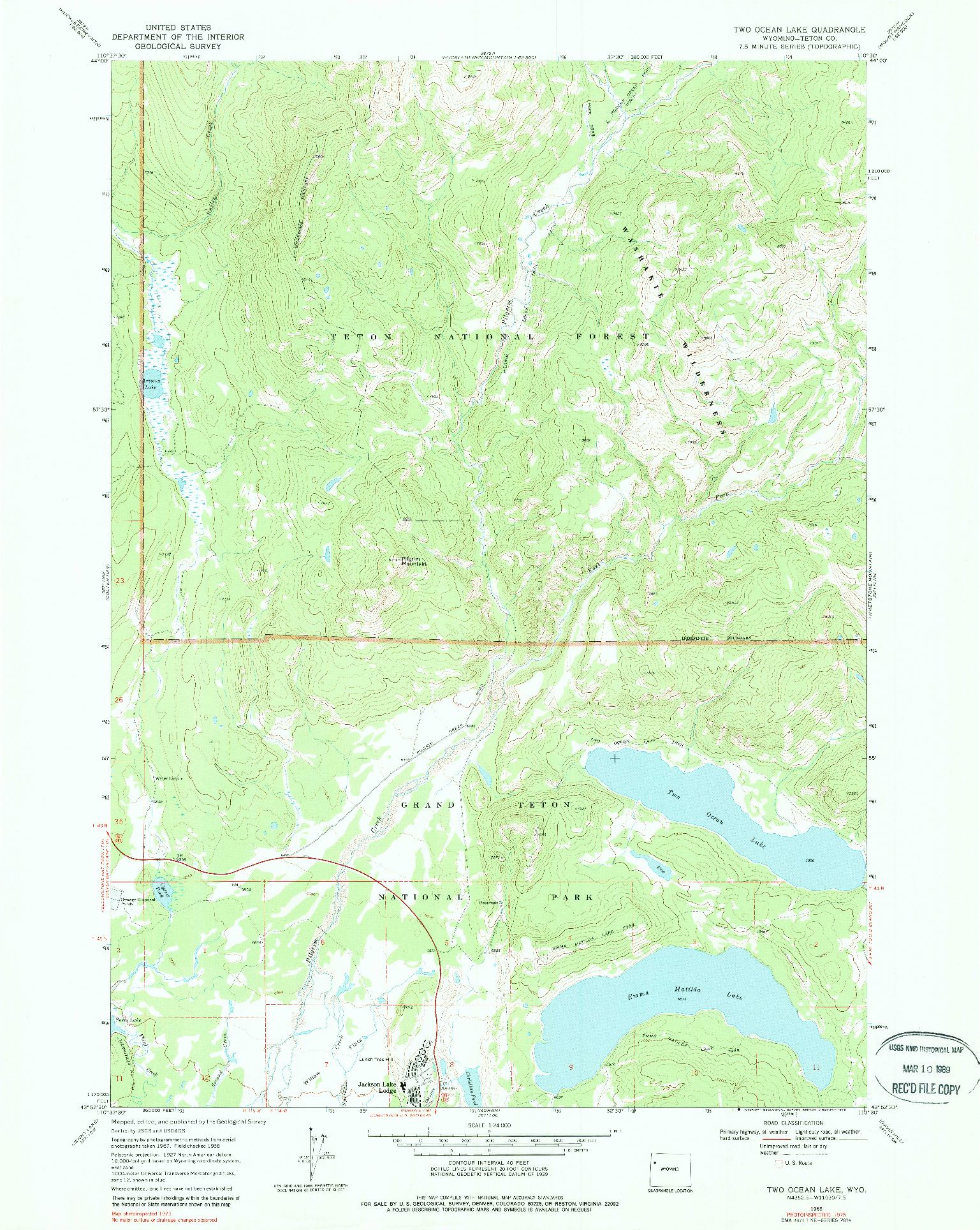USGS 1:24000-SCALE QUADRANGLE FOR TWO OCEAN LAKE, WY 1968