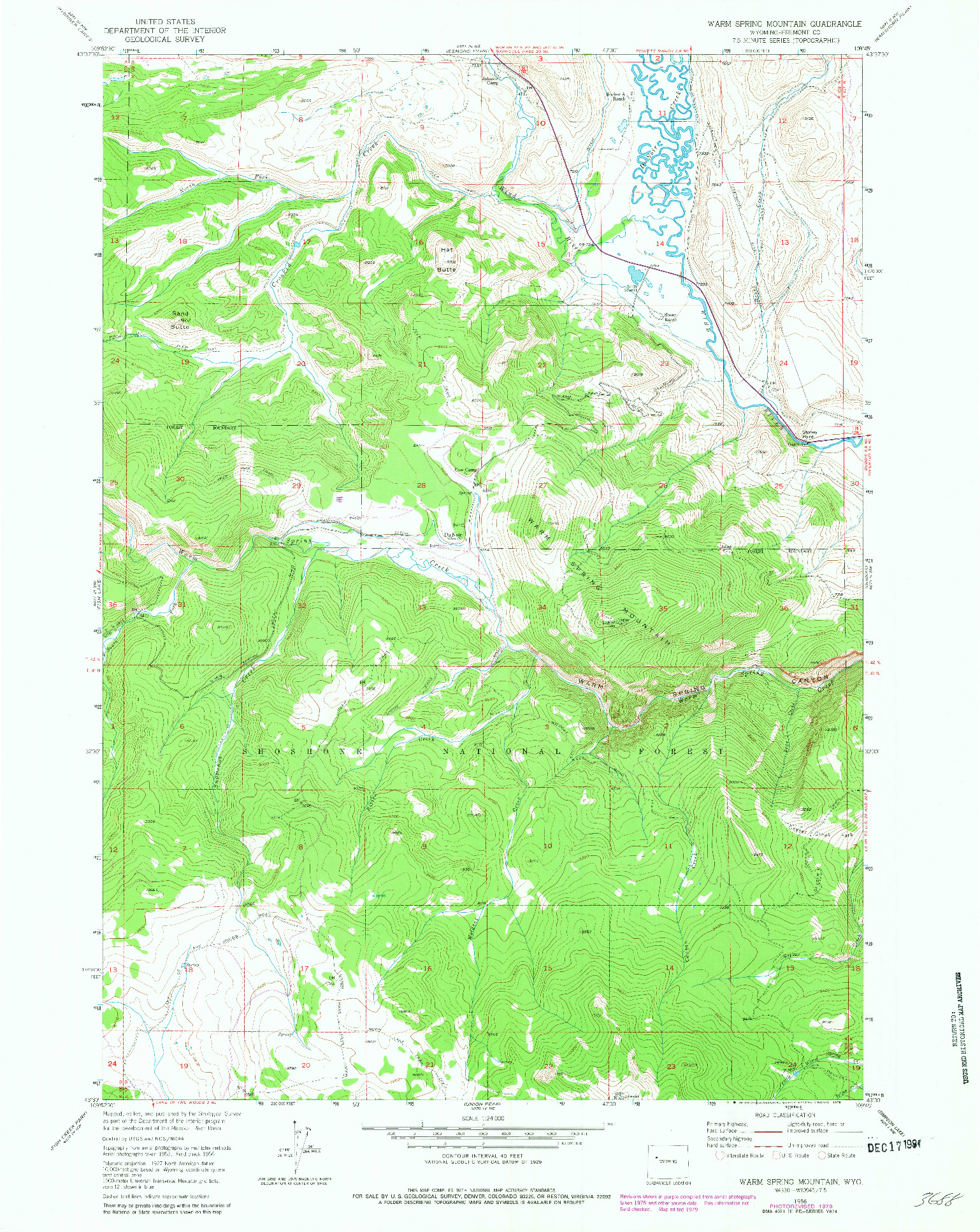 USGS 1:24000-SCALE QUADRANGLE FOR WARM SPRING MOUNTAIN, WY 1956