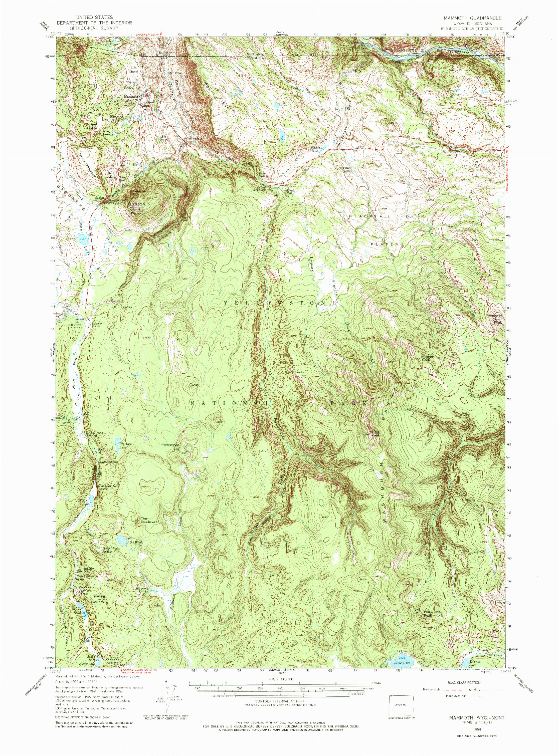 USGS 1:62500-SCALE QUADRANGLE FOR MAMMOTH, WY 1958