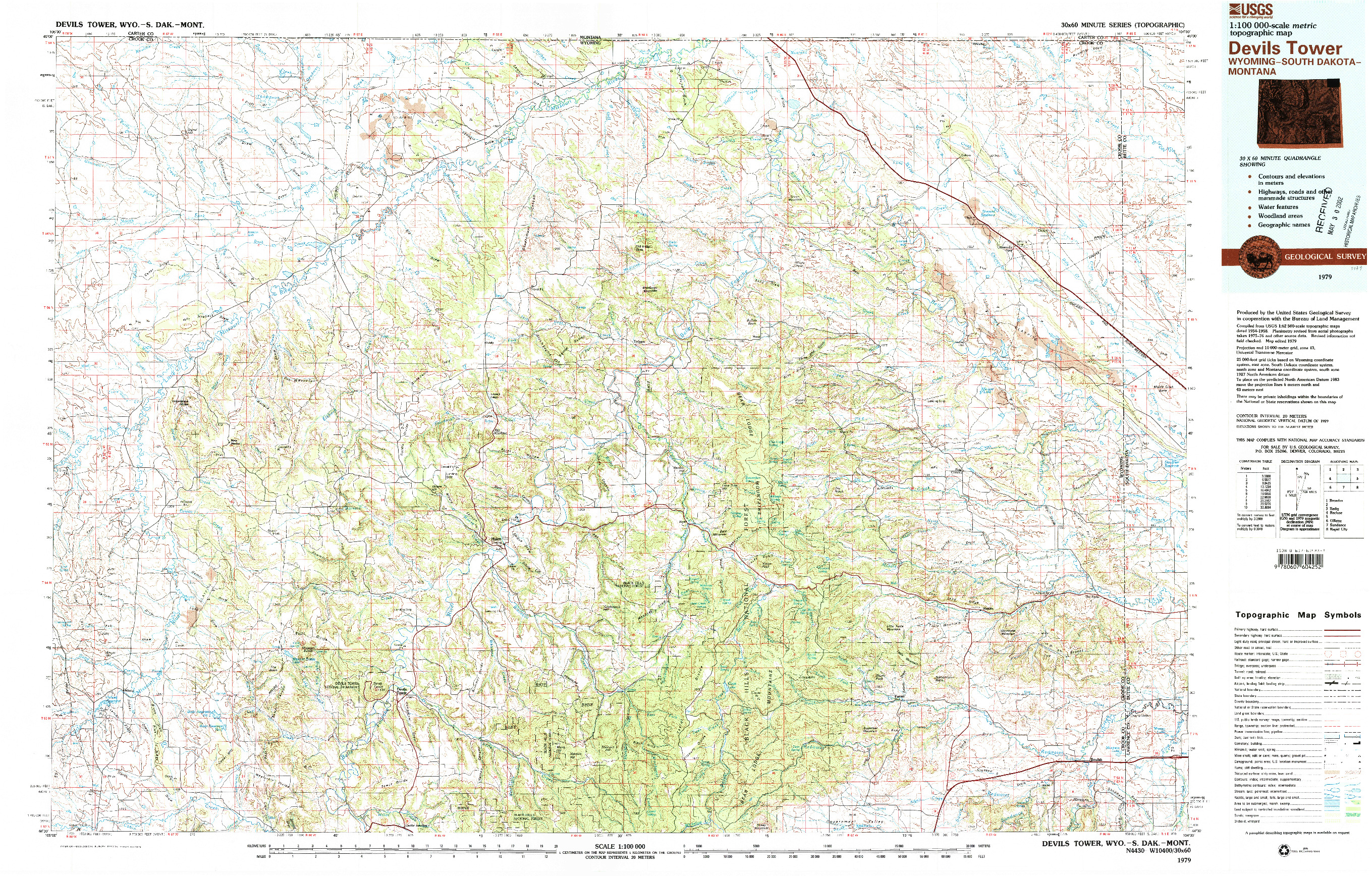USGS 1:100000-SCALE QUADRANGLE FOR DEVILS TOWER, WY 1979