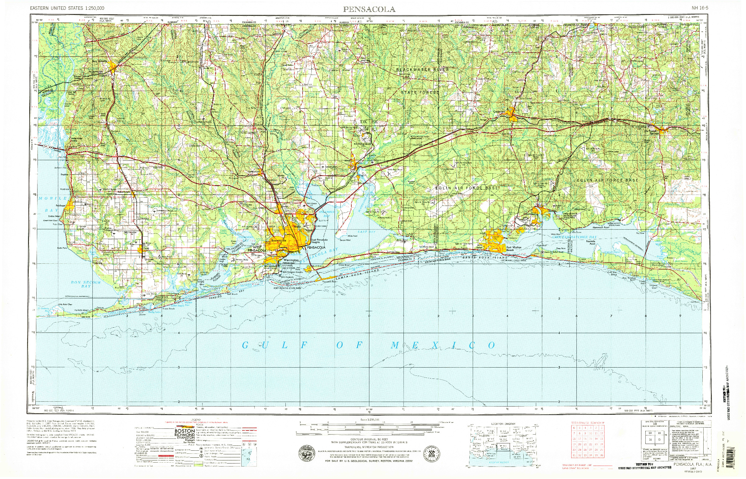 USGS 1:250000-SCALE QUADRANGLE FOR PENSACOLA, FL 1957