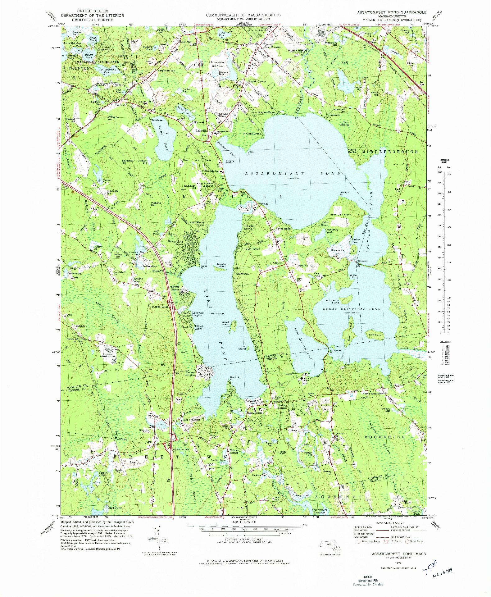 USGS 1:25000-SCALE QUADRANGLE FOR ASSAWOMPSET POND, MA 1978