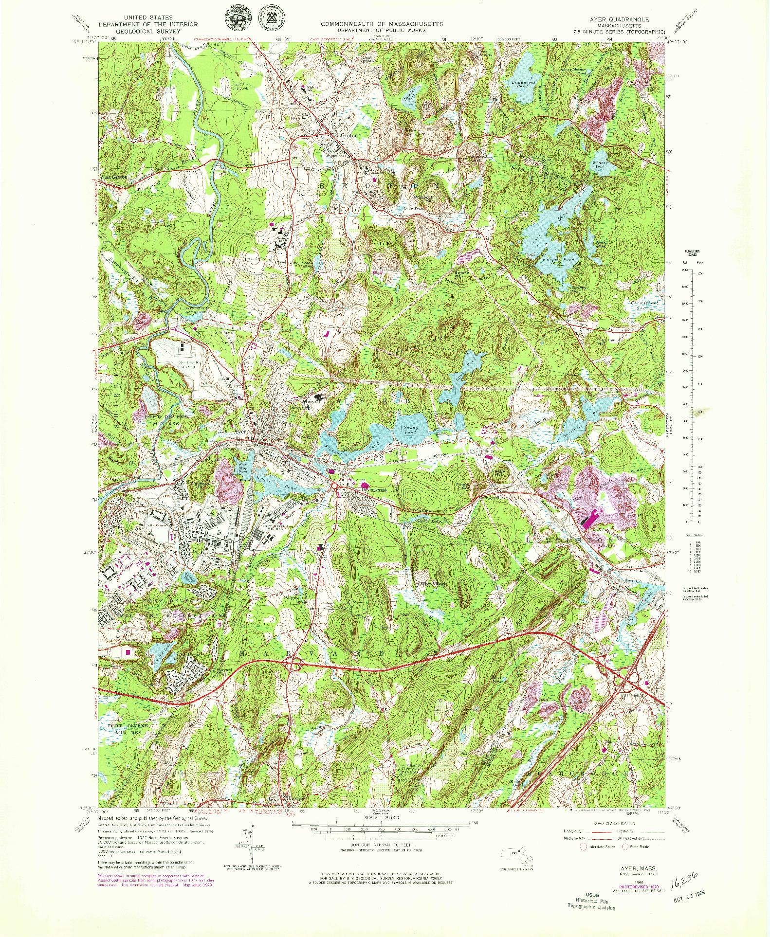 USGS 1:25000-SCALE QUADRANGLE FOR AYER, MA 1966