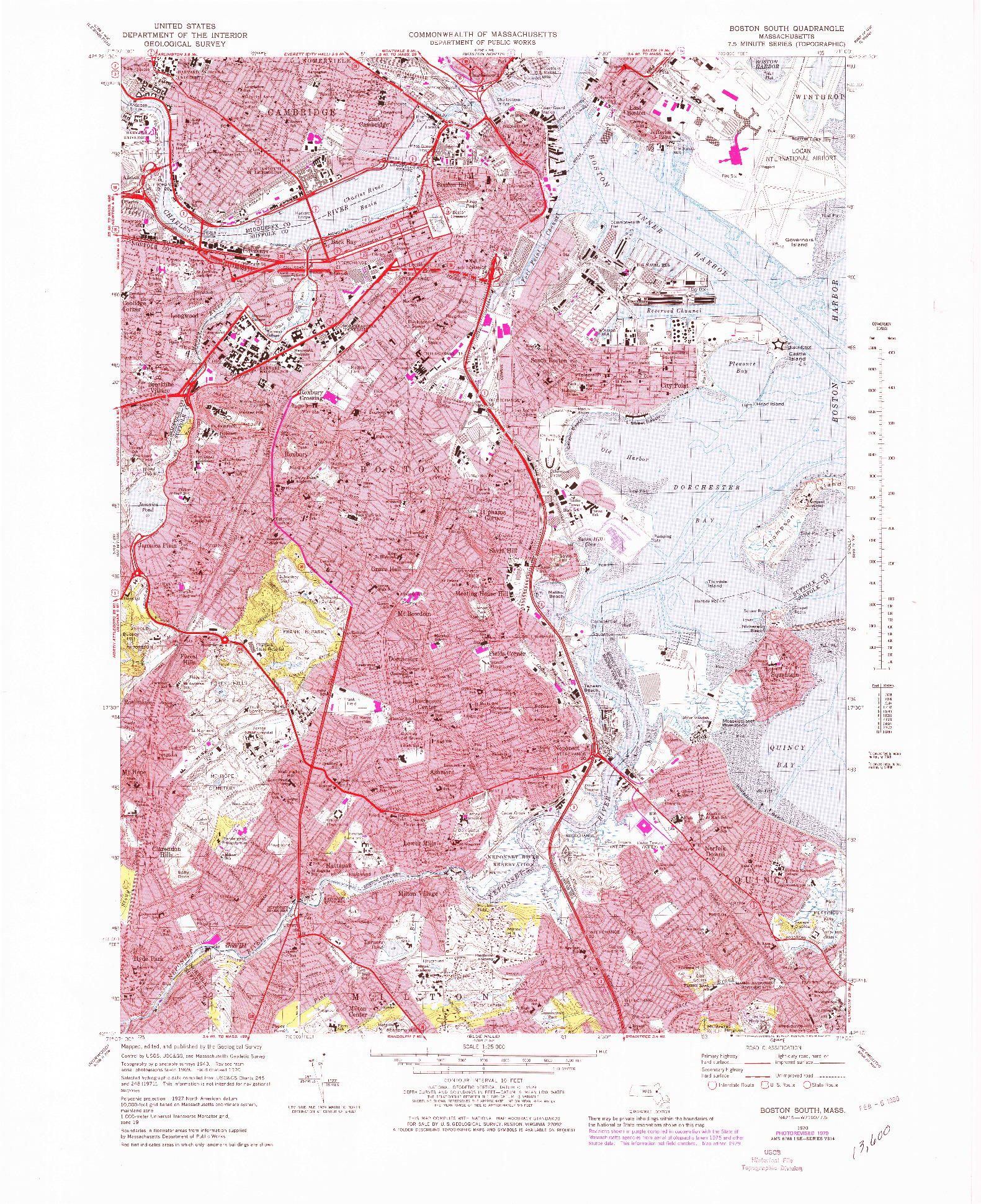 USGS 1:25000-SCALE QUADRANGLE FOR BOSTON SOUTH, MA 1970