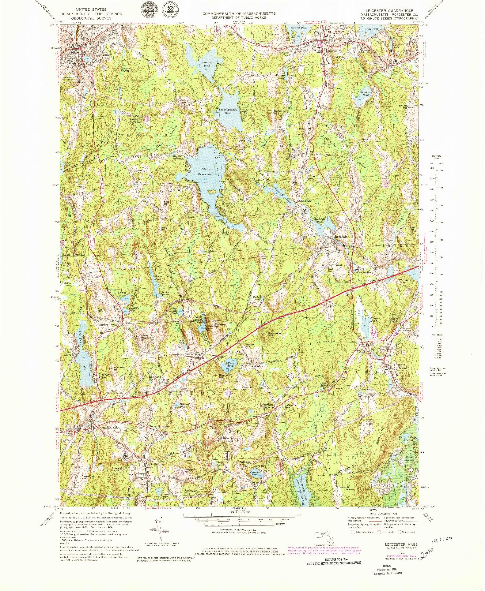 USGS 1:25000-SCALE QUADRANGLE FOR LEICESTER, MA 1969