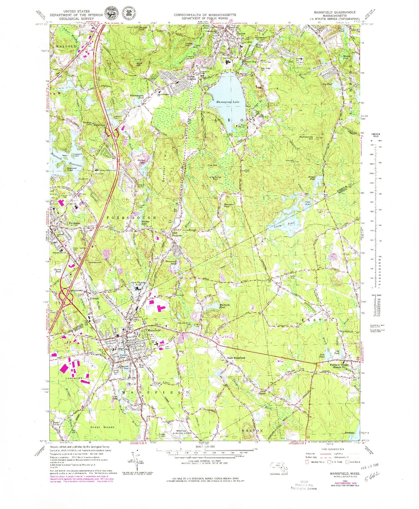 USGS 1:25000-SCALE QUADRANGLE FOR MANSFIELD, MA 1964