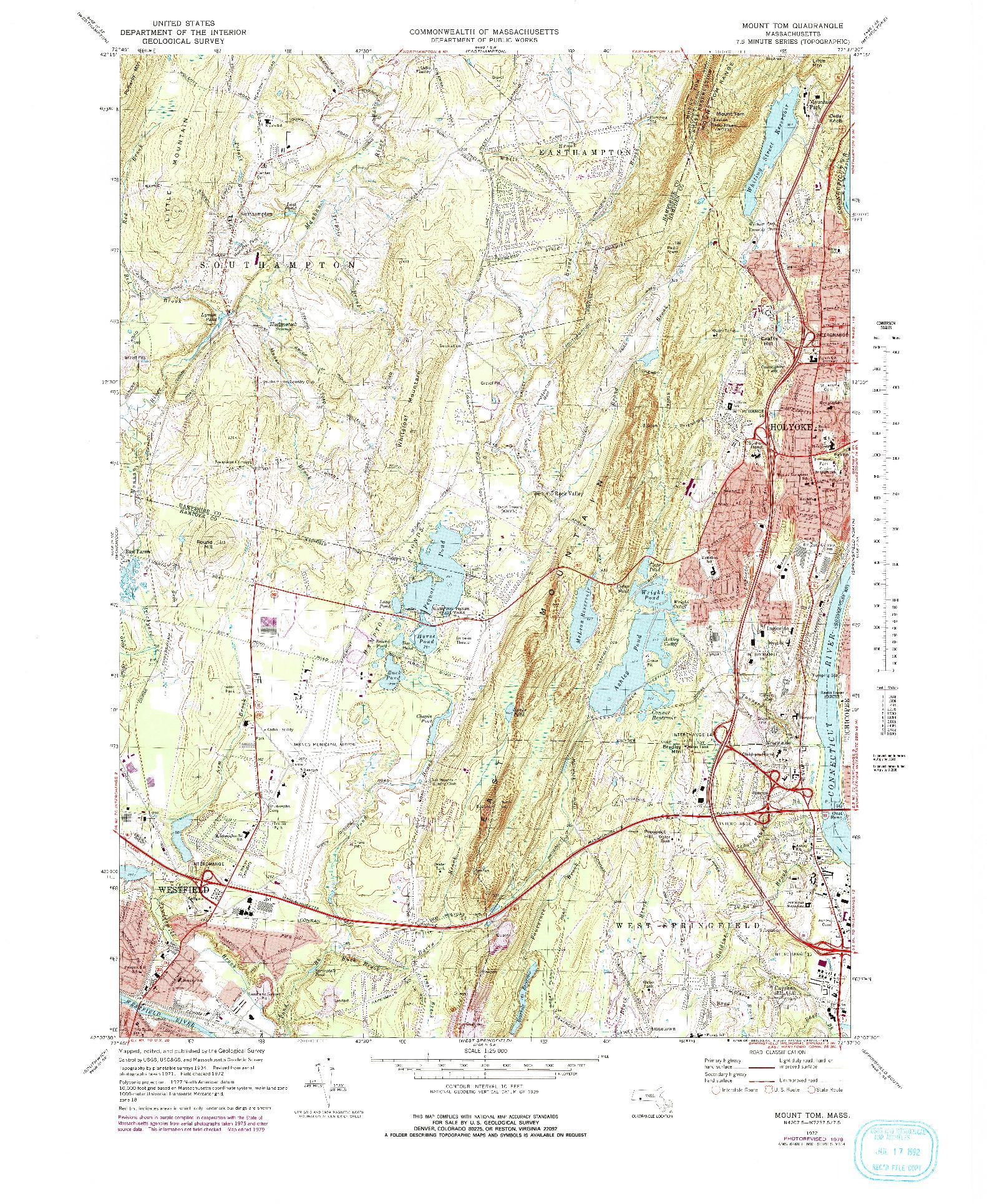 USGS 1:25000-SCALE QUADRANGLE FOR MOUNT TOM, MA 1972