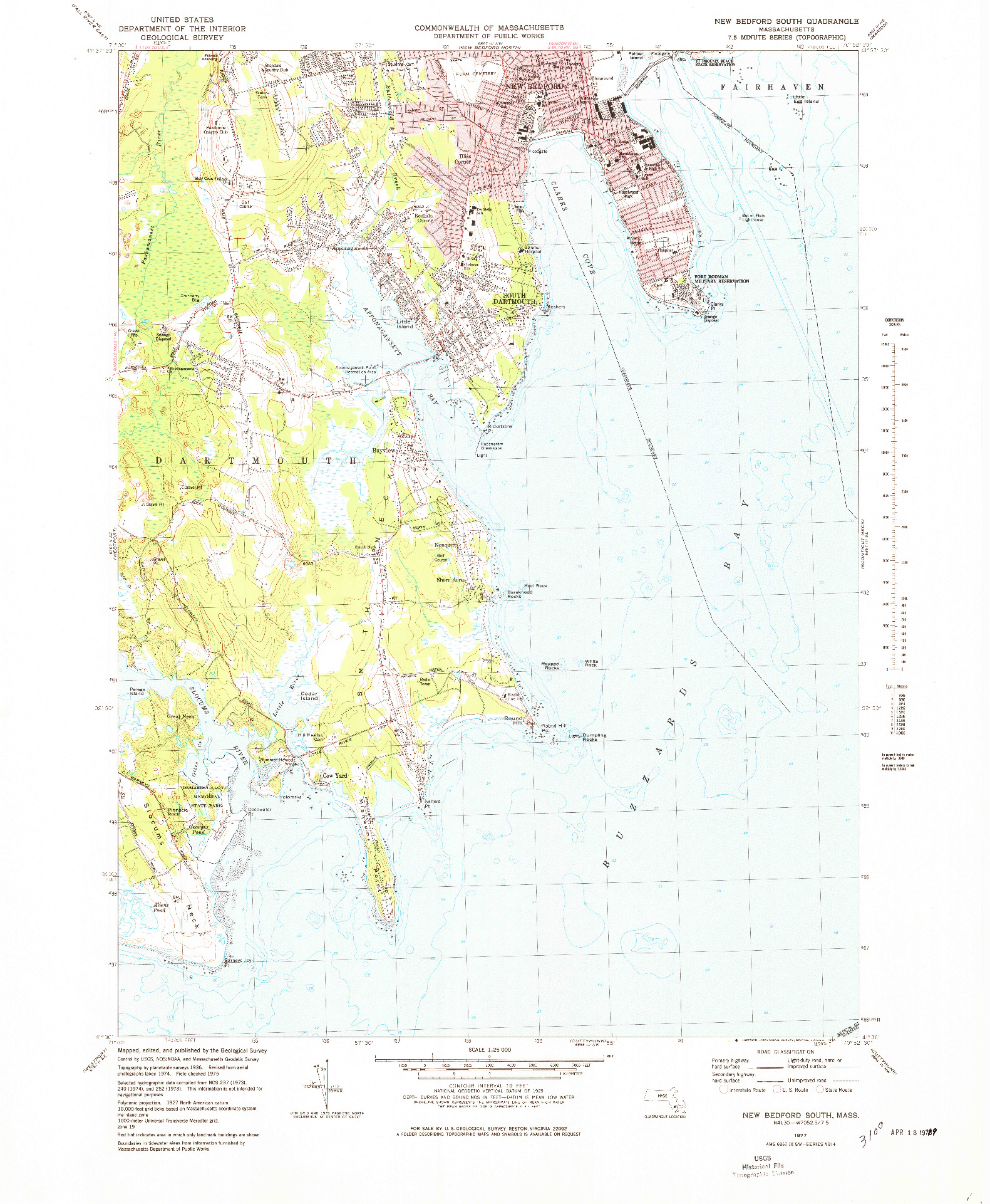 USGS 1:25000-SCALE QUADRANGLE FOR NEW BEDFORD SOUTH, MA 1977